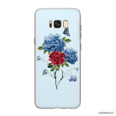 BLUE PEONY BOUQUET ON BLUE THEME - Samsung Galaxy S8