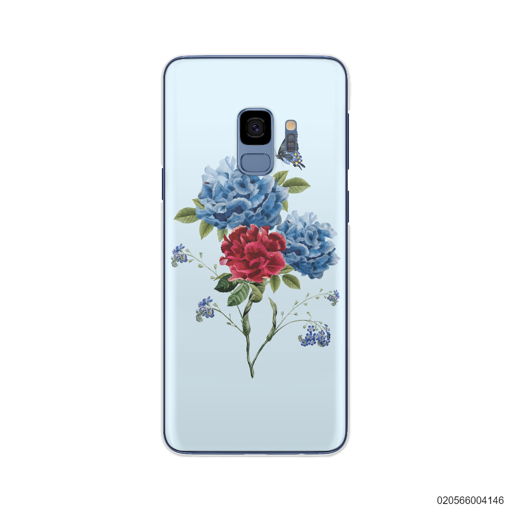 BLUE PEONY BOUQUET ON BLUE THEME - Samsung Galaxy S9