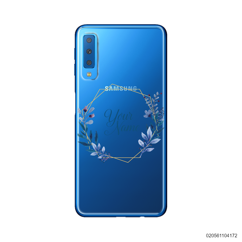 CUSTOMIZE BLUE LEAVES FRAME - Samsung Galaxy A7 2018