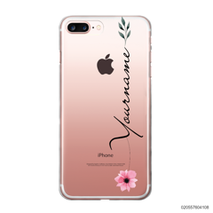 CUSTOM YOUR NAME WITH PINK FLOWER - iPhone 7 plus