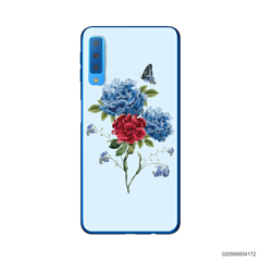 BLUE PEONY BOUQUET ON BLUE THEME - Samsung Galaxy A7 2018