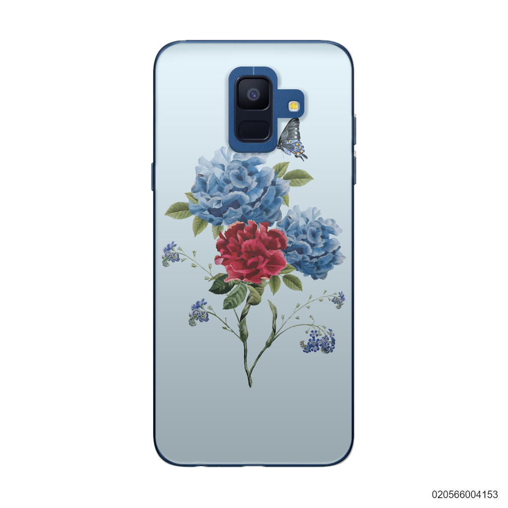 BLUE PEONY BOUQUET ON BLUE THEME - Samsung Galaxy A6 2018