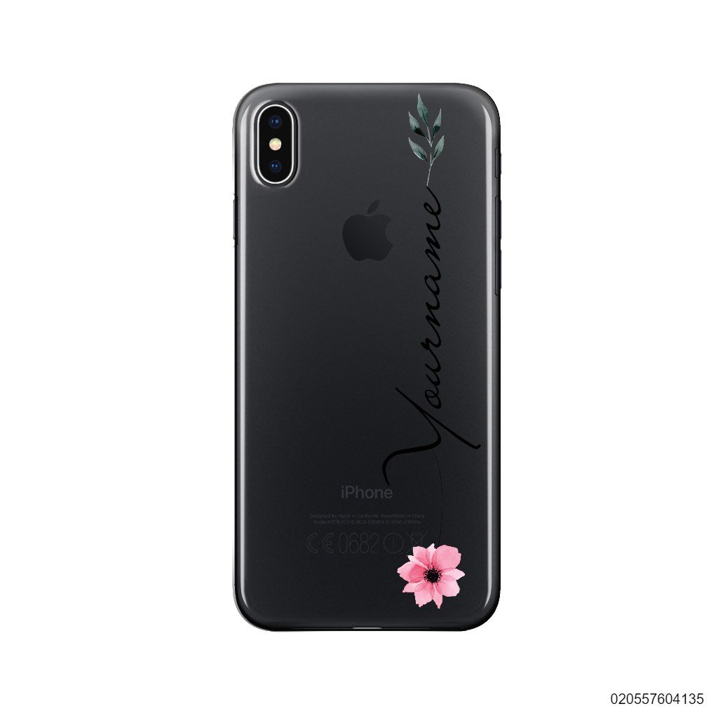 CUSTOM YOUR NAME WITH PINK FLOWER - Iphone X/ Xs