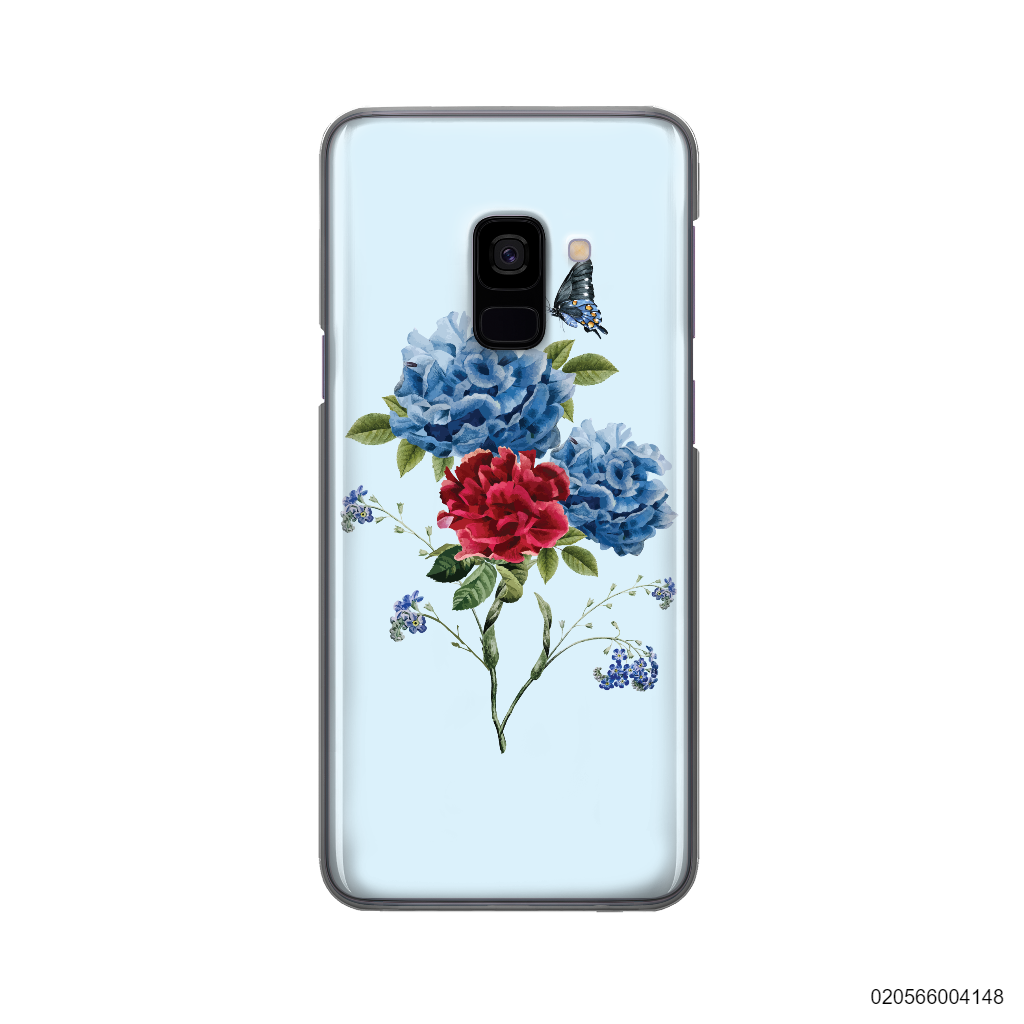 BLUE PEONY BOUQUET ON BLUE THEME - Samsung Galaxy A8 2018
