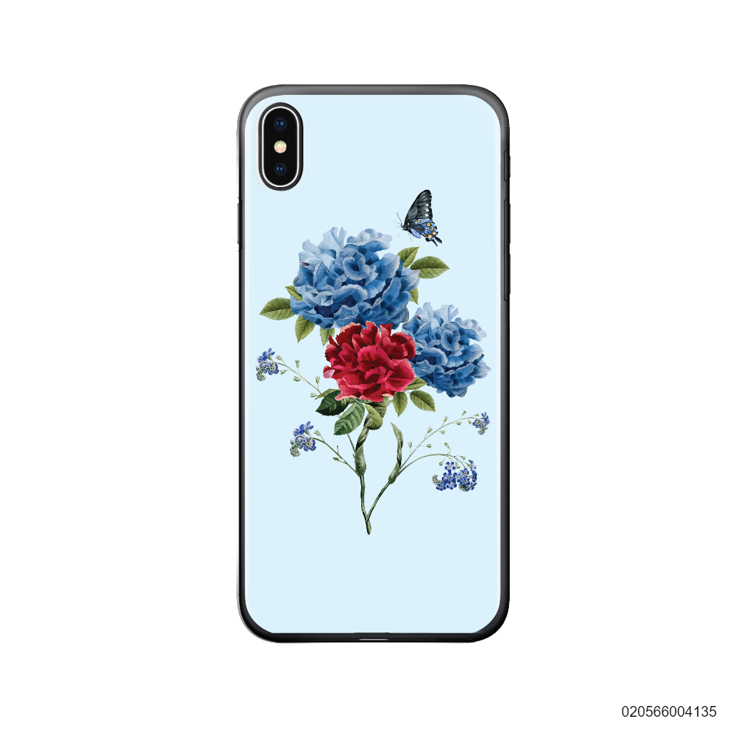 BLUE PEONY BOUQUET ON BLUE THEME - Iphone X/ Xs