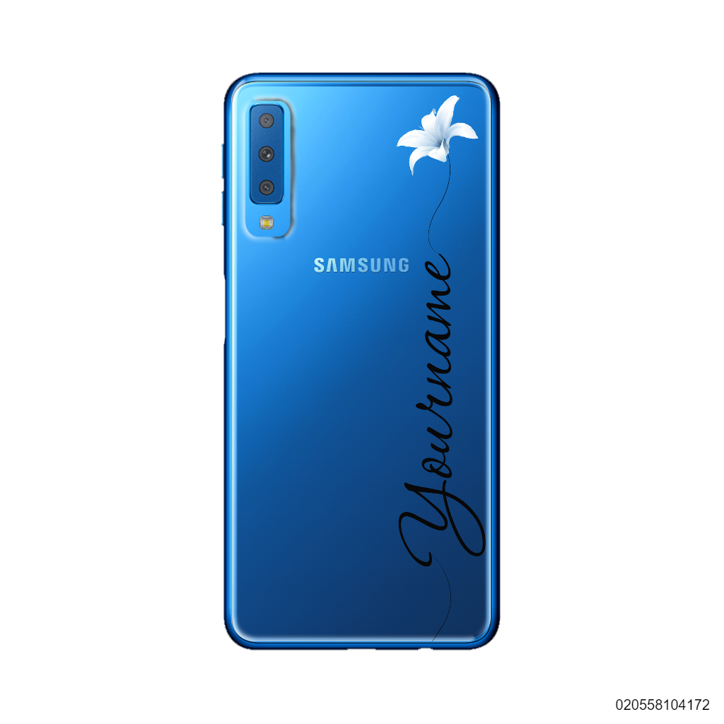 CUSTOM YOUR NAME WITH WHITE FLOWER - Samsung Galaxy A7 2018