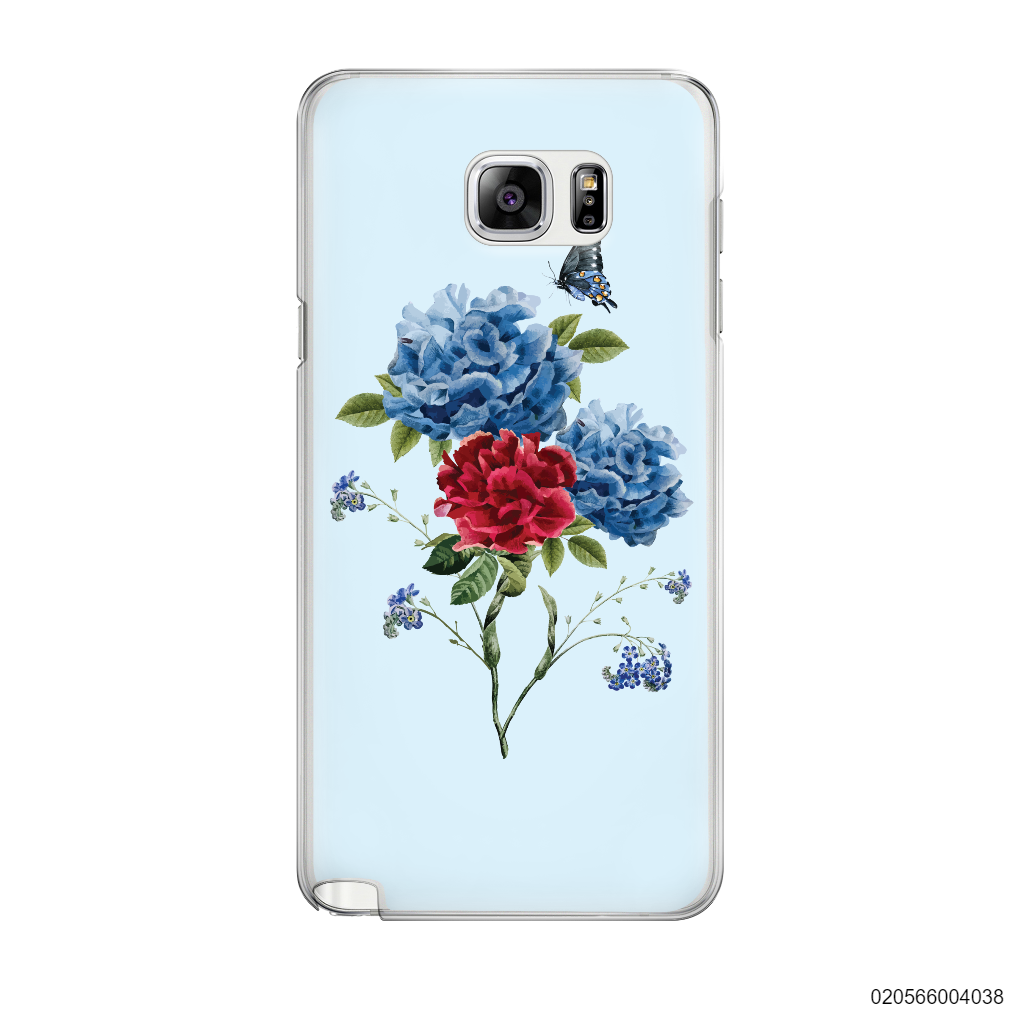 BLUE PEONY BOUQUET ON BLUE THEME - Samsung Galaxy Note 5