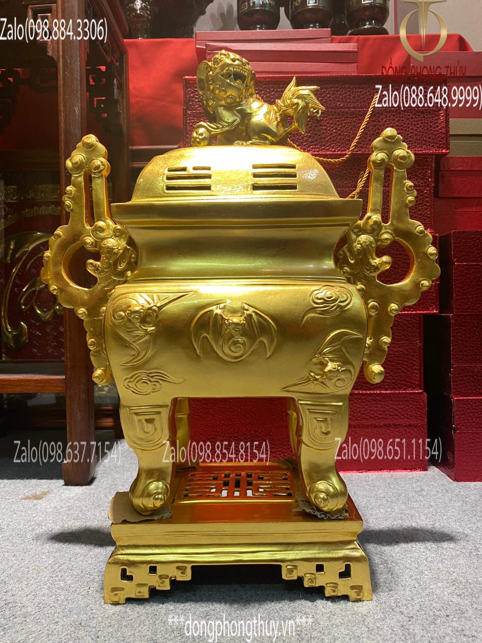 Đỉnh đồng dáng Vuông họa tiết Dơi ngũ phúc cao 55cm 15kg