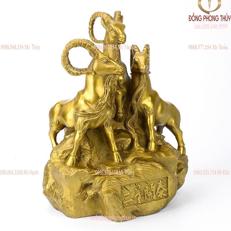 Tượng tam dương khai thái -  tượng dê phong thủy bằng đồng