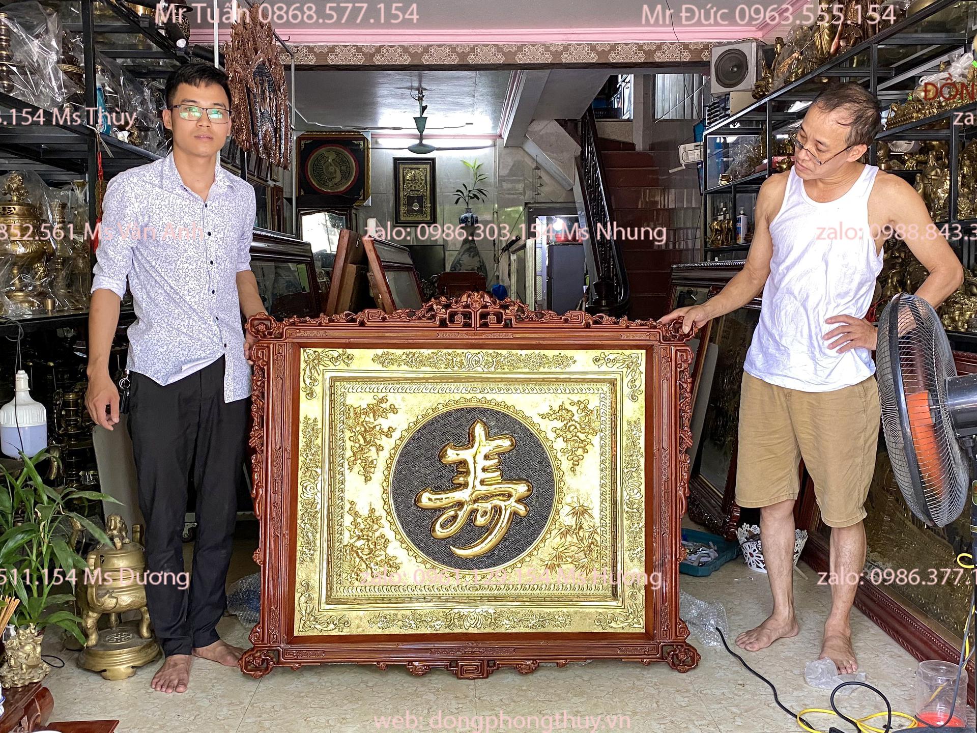 Tranh chữ Thọ mạ vàng 24kđồng dày 1 ly trạm tay thủ công chữ nổi khung gỗ tần bìcách điệu đẹp
