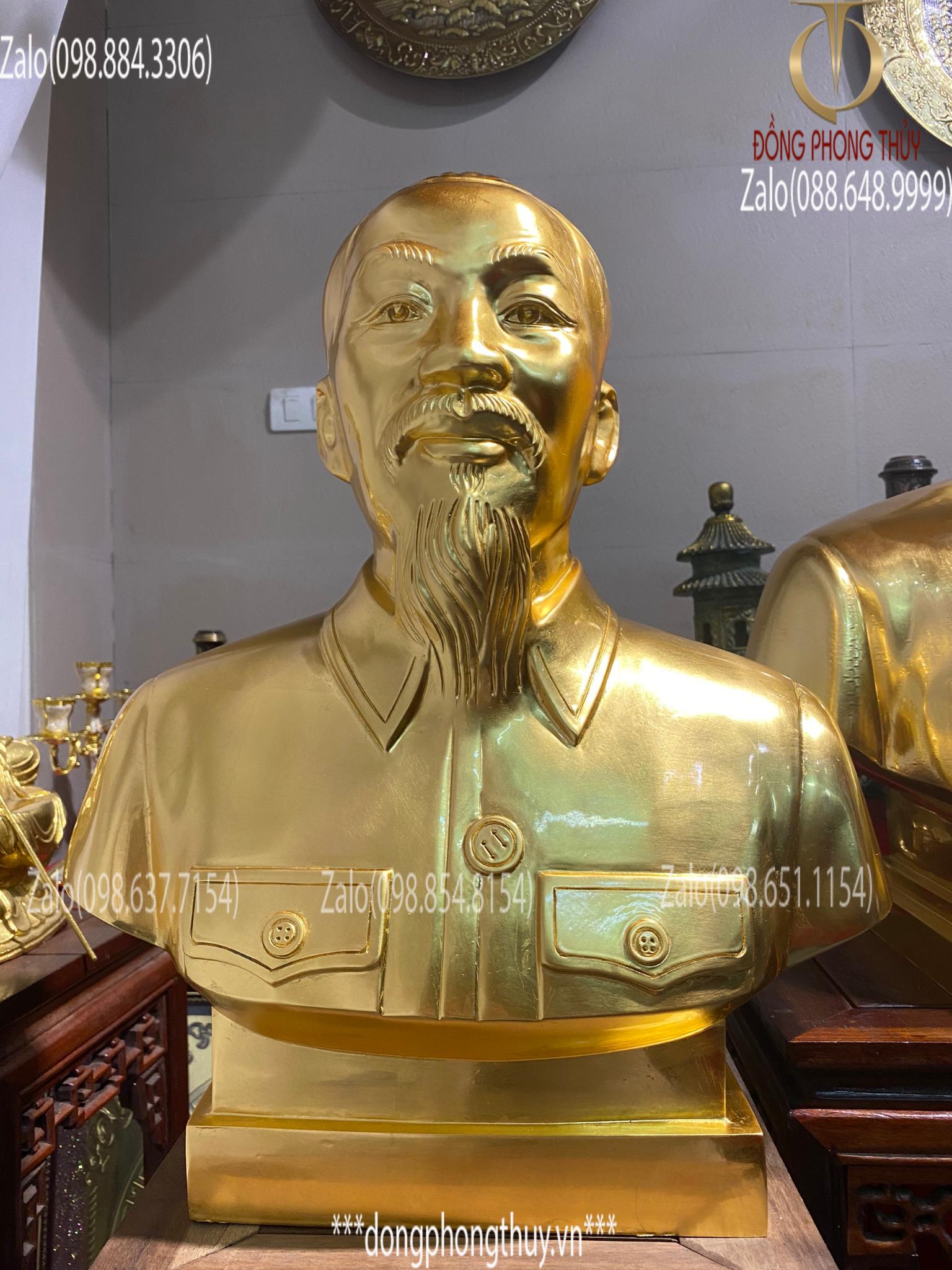 Tượng bác hồ bằng đồng đỏ thếp vàng 24k cao 50cm, nặng 20kg