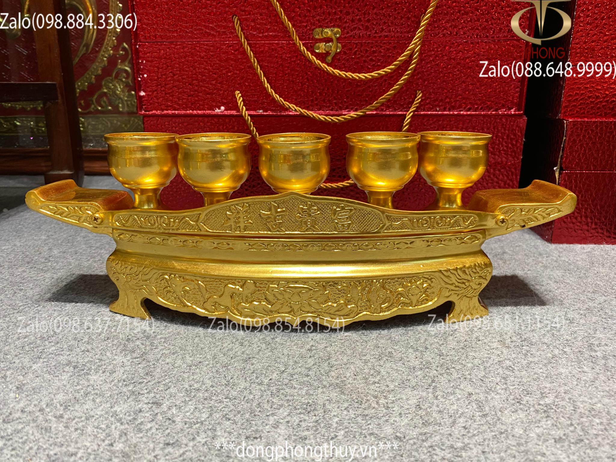 bộ ngai 5 chén bằng đồng mạ vàng 24k
