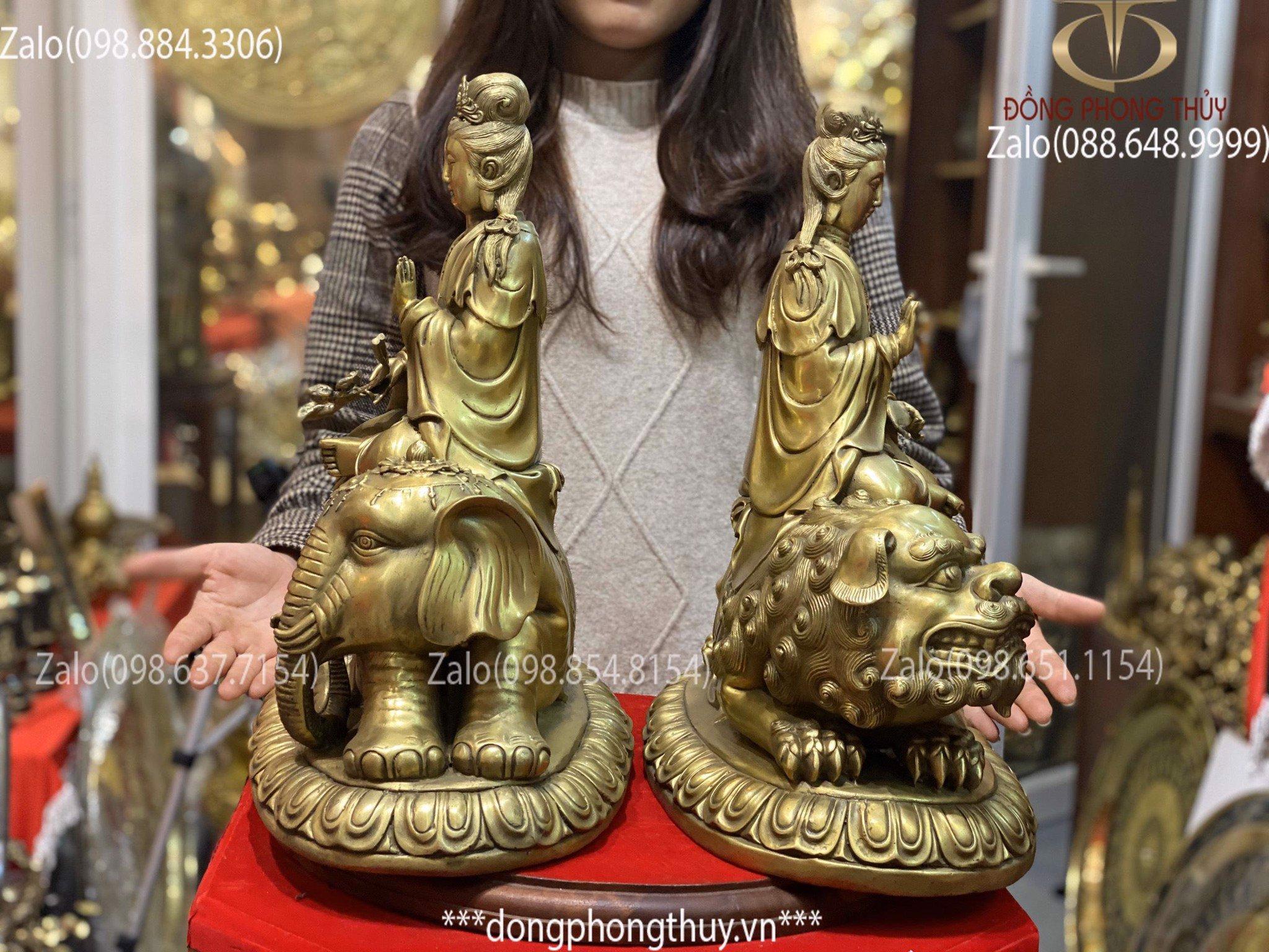 Tượng Văn Thù Phổ Hiền Bồ Tát Bằng Đồng Cao 41cm
