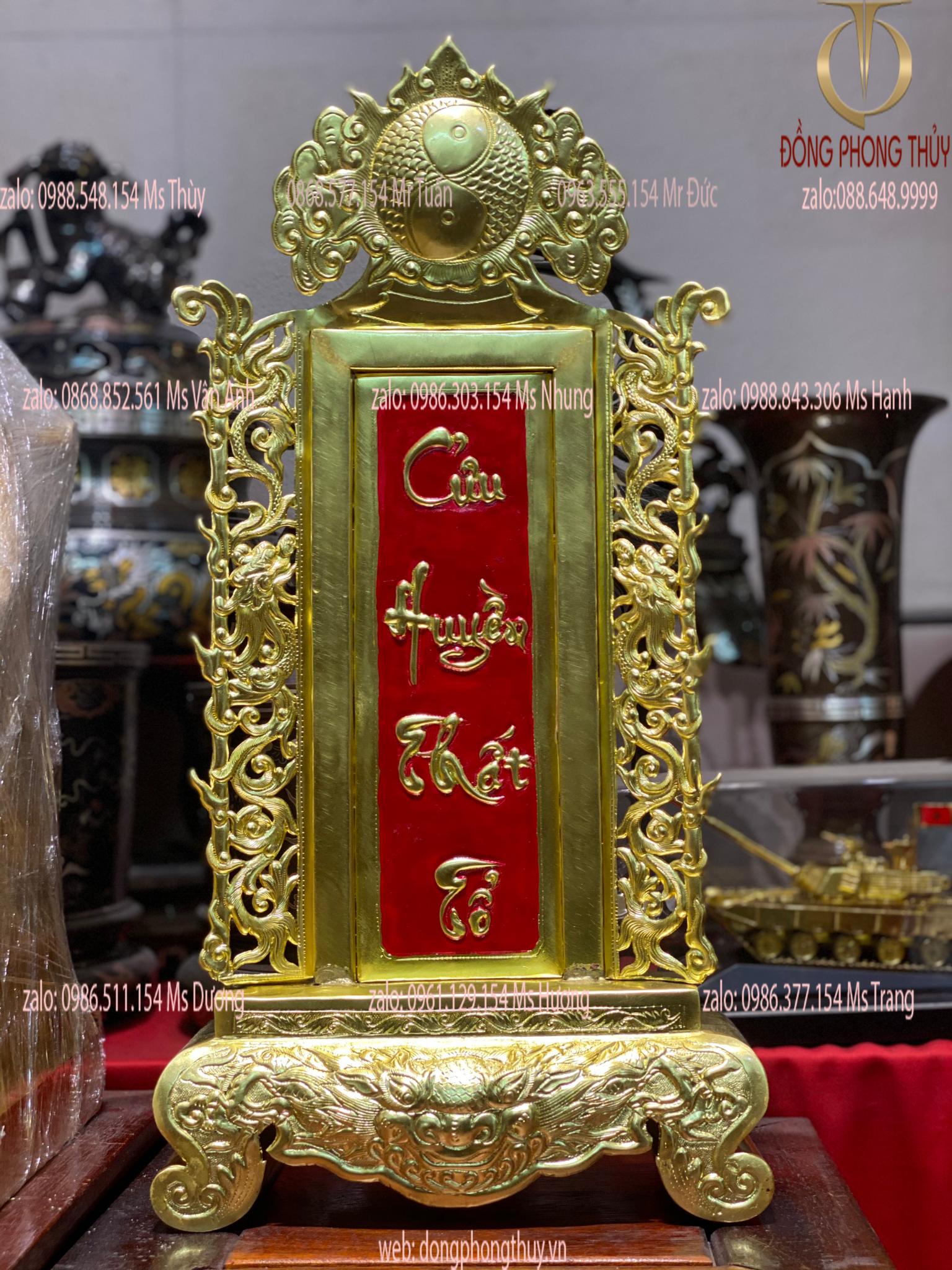 Bài vị thờ bằng đồng Cửu Huyền Thất Tổ cao 48, ngang 24, sâu 9 nặng 1kg