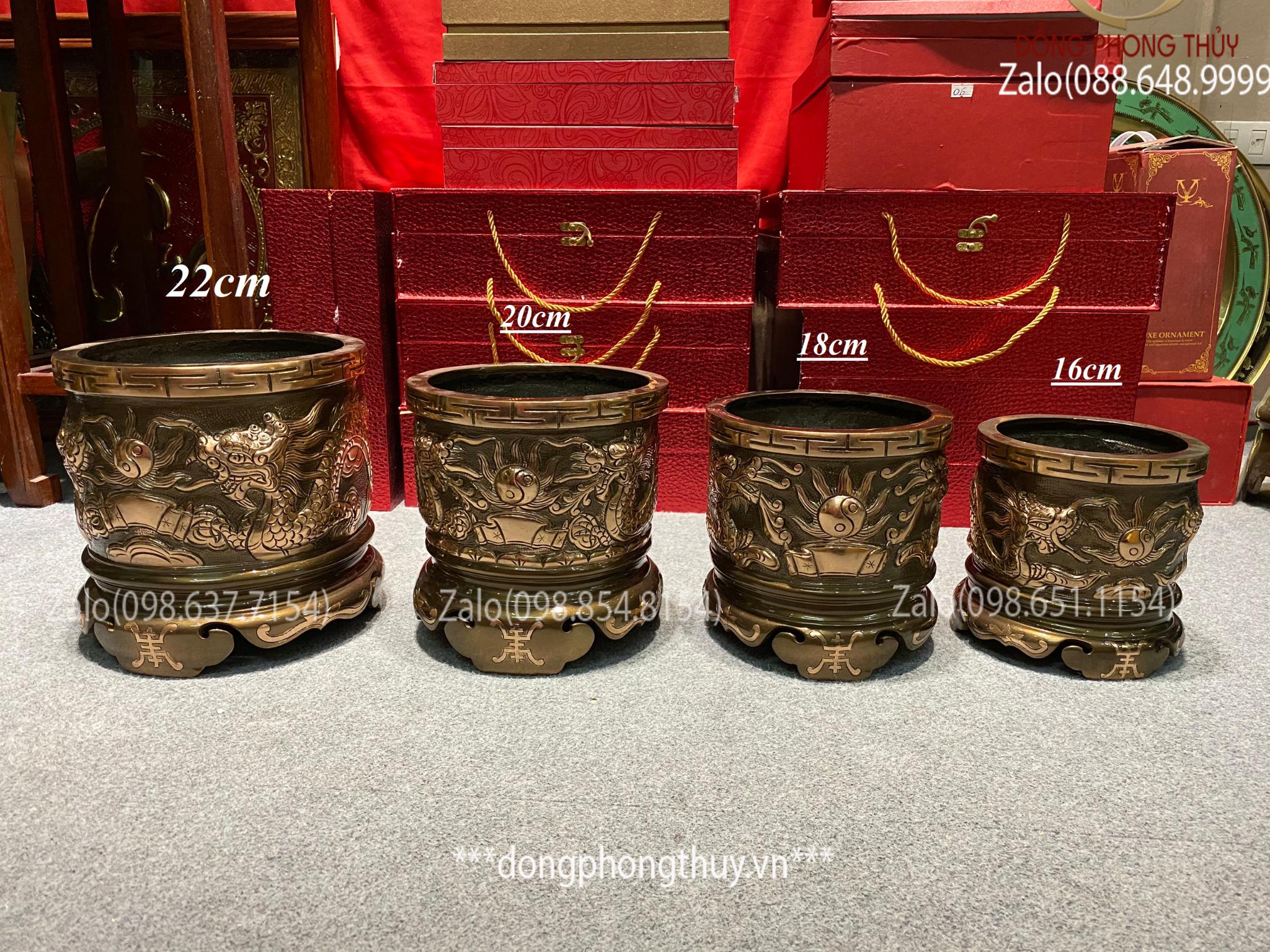 Bát hương đồng đỏ 22cm - Giá bát hương bằng đồng