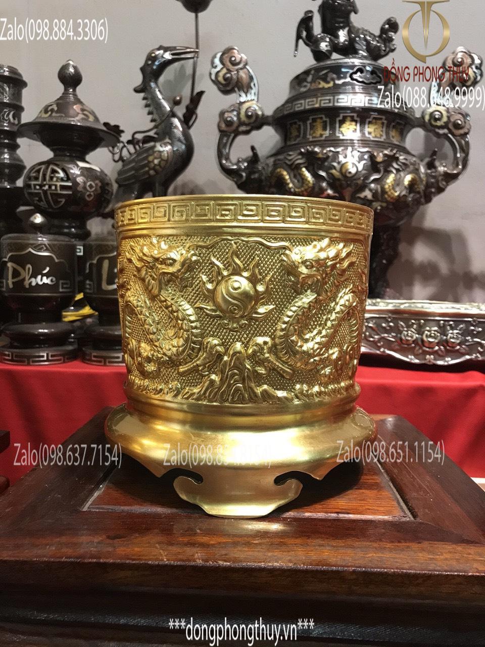 bát hương bằng đồng mạ vàng 24k