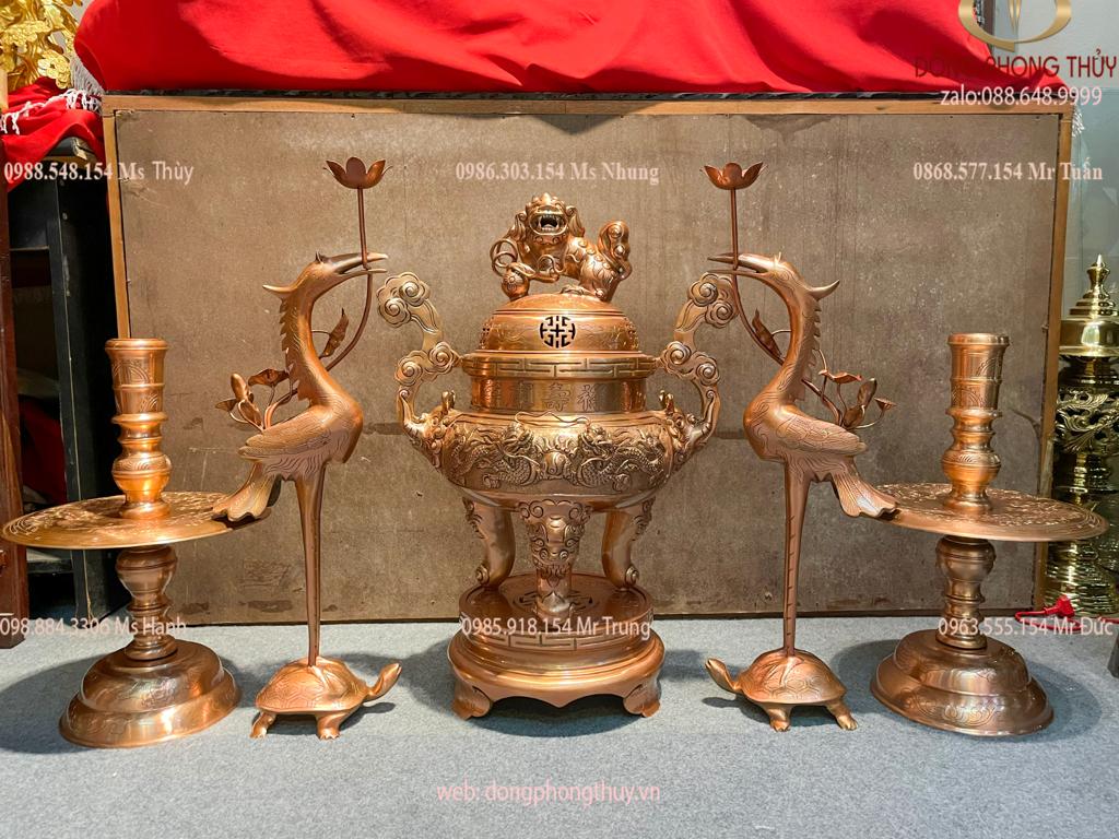 Bộ đỉnh đồng đỏ Song Long Chầu Nguyệt Cao Đủ 65cm nặng 47kg