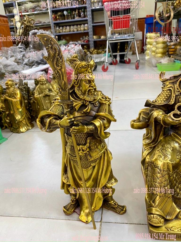Bộ tượng tam thánh Quan Công đế quân Châu Xương, Quan Bình cao 39cm