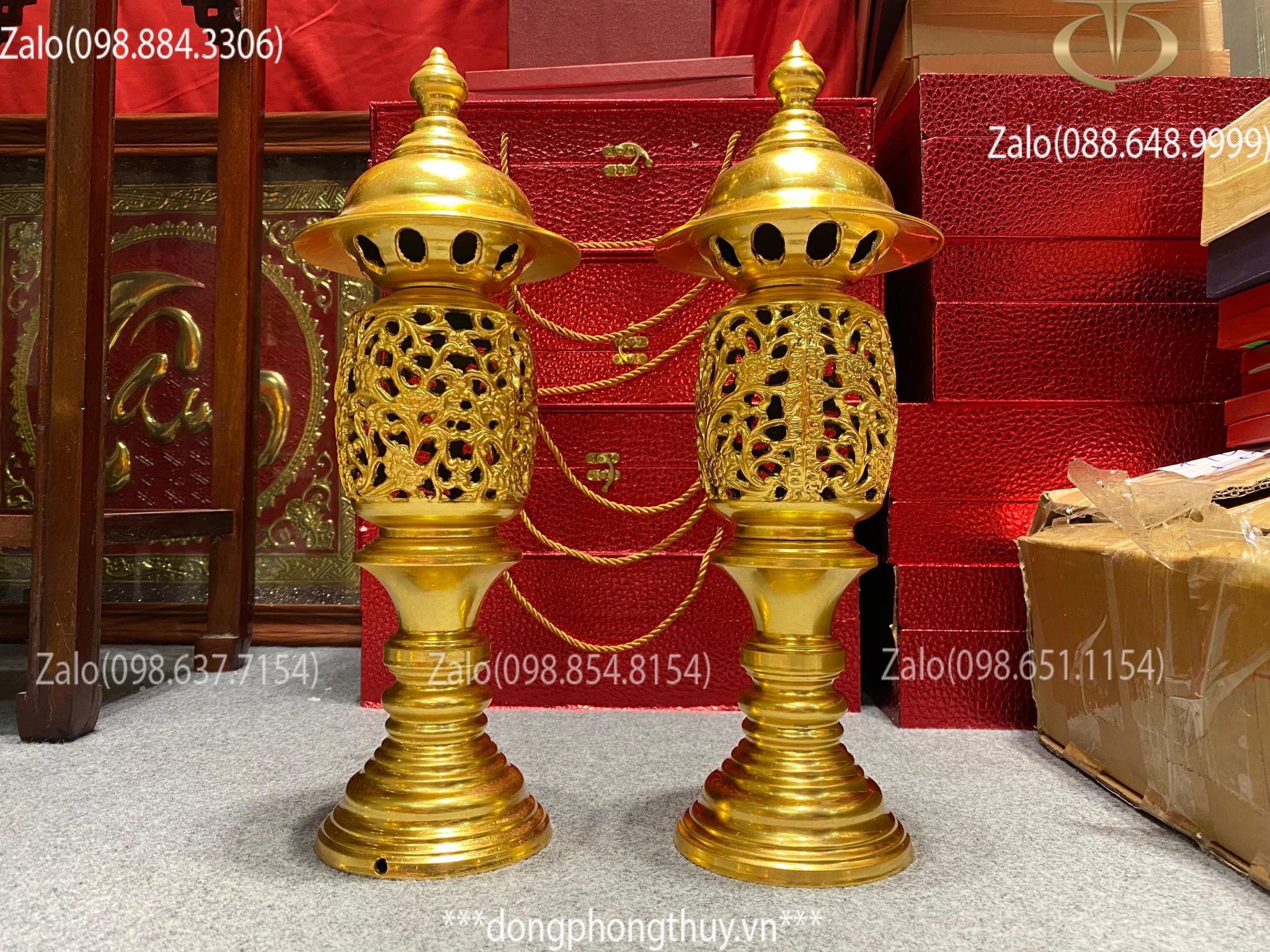 Đèn thờ bằng đồng 43cm thếp Vàng 24k
