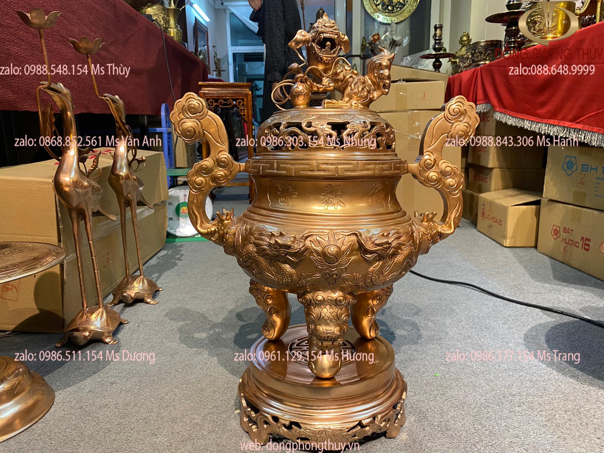 Đỉnh đồng đỏ LƯỠNG LONG CHẦU NGUYỆT cao 58cm nặng 19,7kg