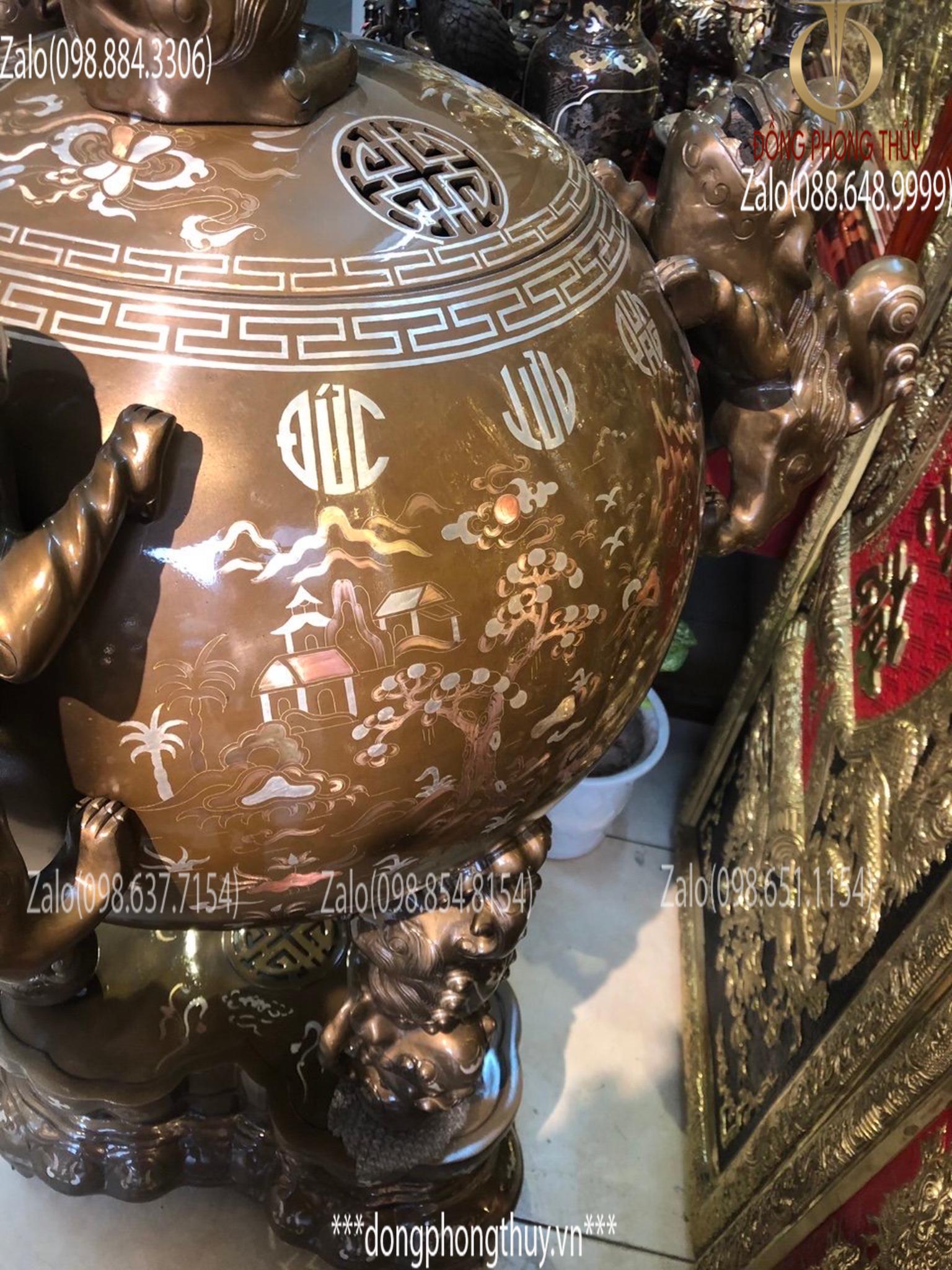 Đỉnh đồng thất lân vờn cầu khảm tam khí 1m5 chữ Việt