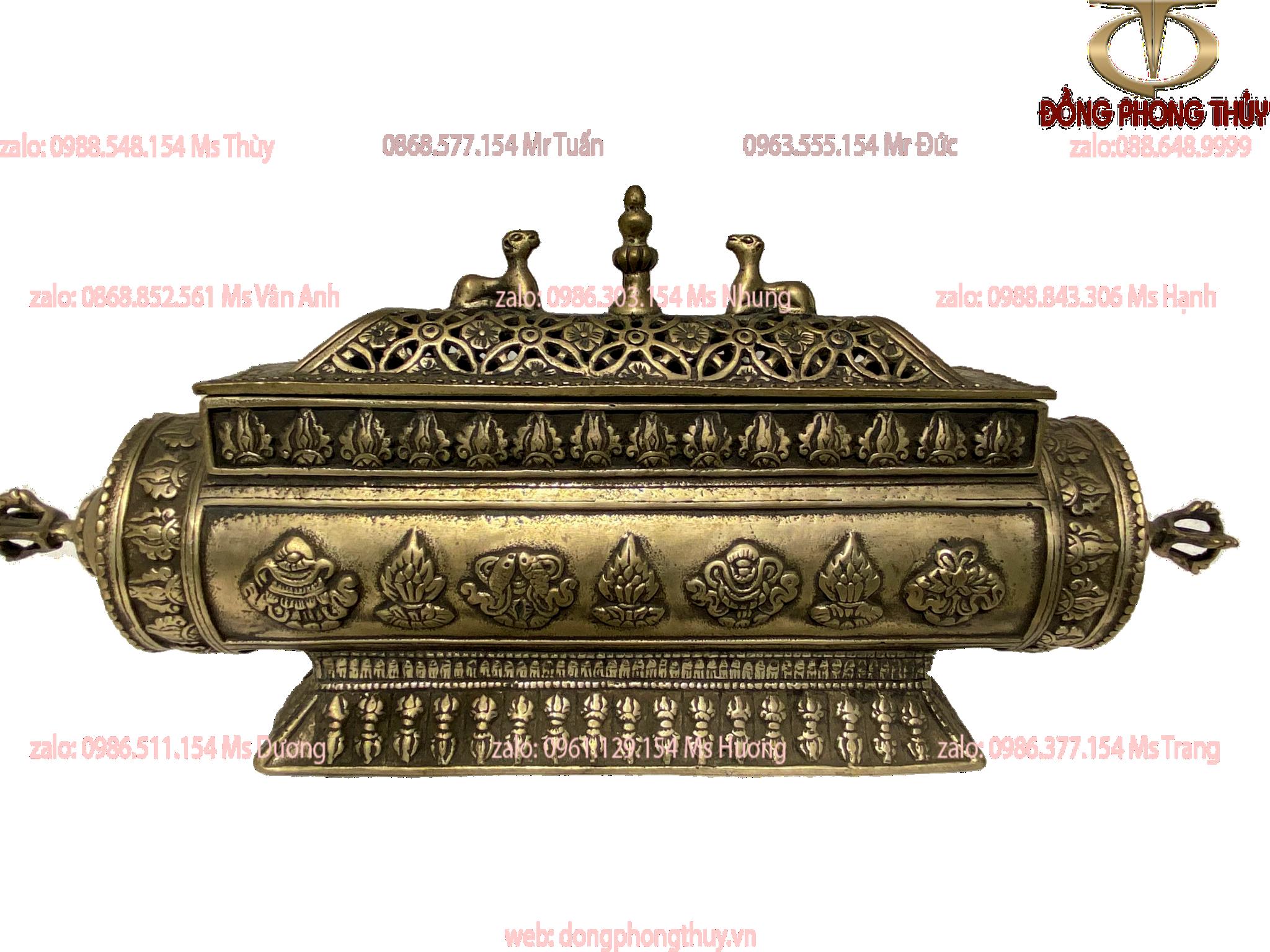 Xông trầm bằng đồng đỏ mạ bạc gắn các phù điêu BÁT ĐẠI CÁT TƯỜNG, và LỤC TỰ ĐẠI MINH CHÚ hàng thủ công của Tây Tạng