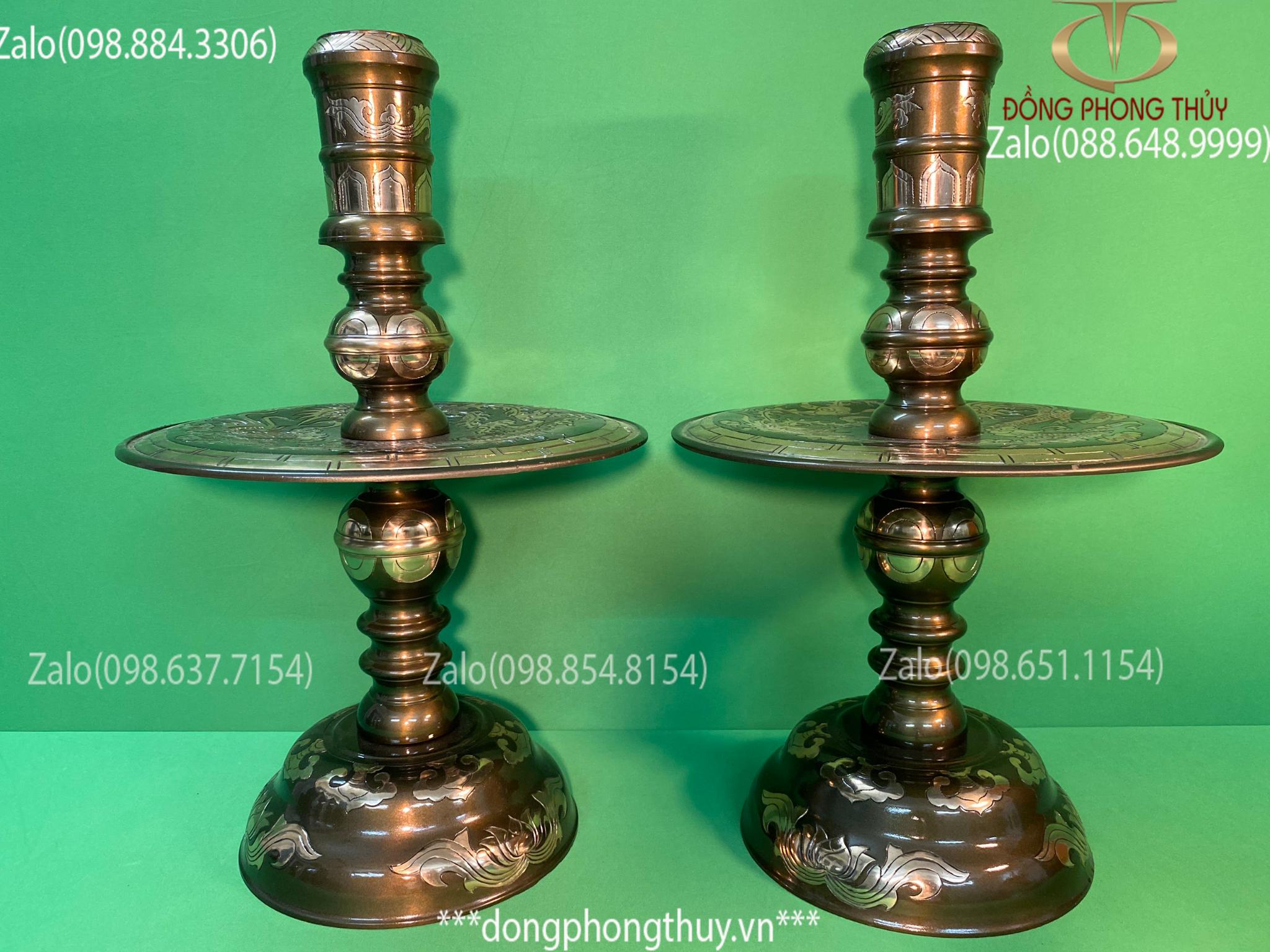 Chân nến thờ đôi chân nến bằng đồng giá chân nến đồng chân nến bàn thờ cao 54cm nặng 14,3kg bằng đồng đỏ