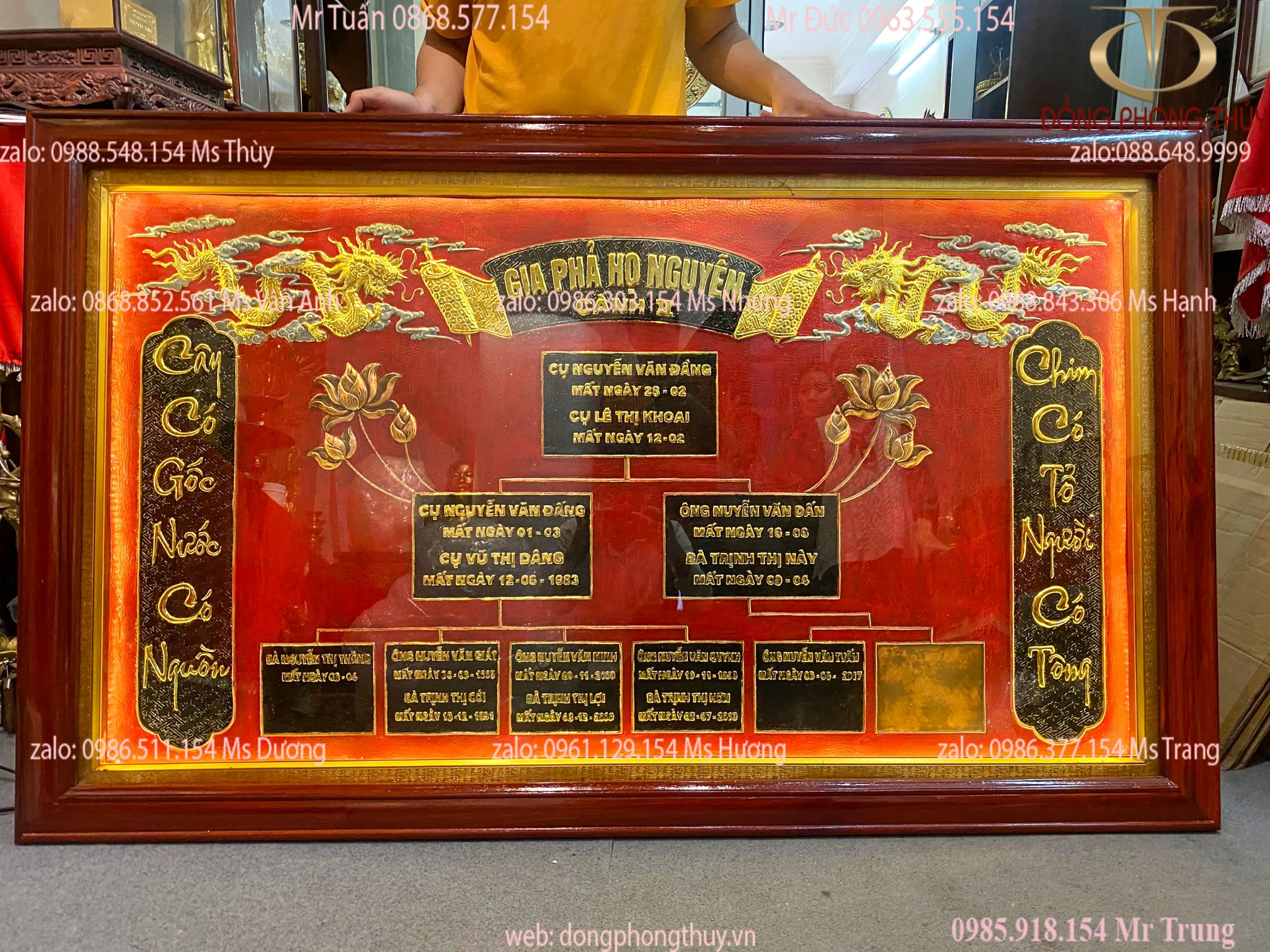 Gia phả dòng họ Nguyễn bằng đồng hàng đặt làm theo yêu cầu của khách hàng