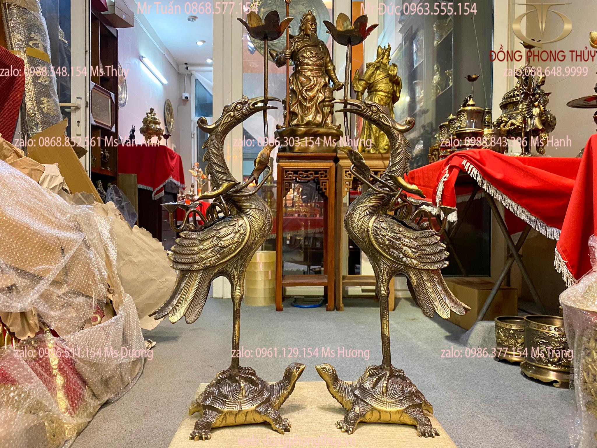 Hạc đồng thờ cúng - Hạc thờ cao 58cm màu hun nặng 7,3kg