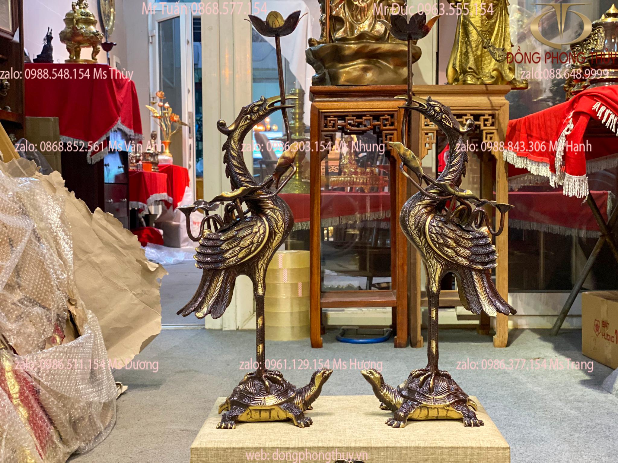 Đôi hạc đồng thờ cúng 52cm màu tím đậm nặng 5,5kg