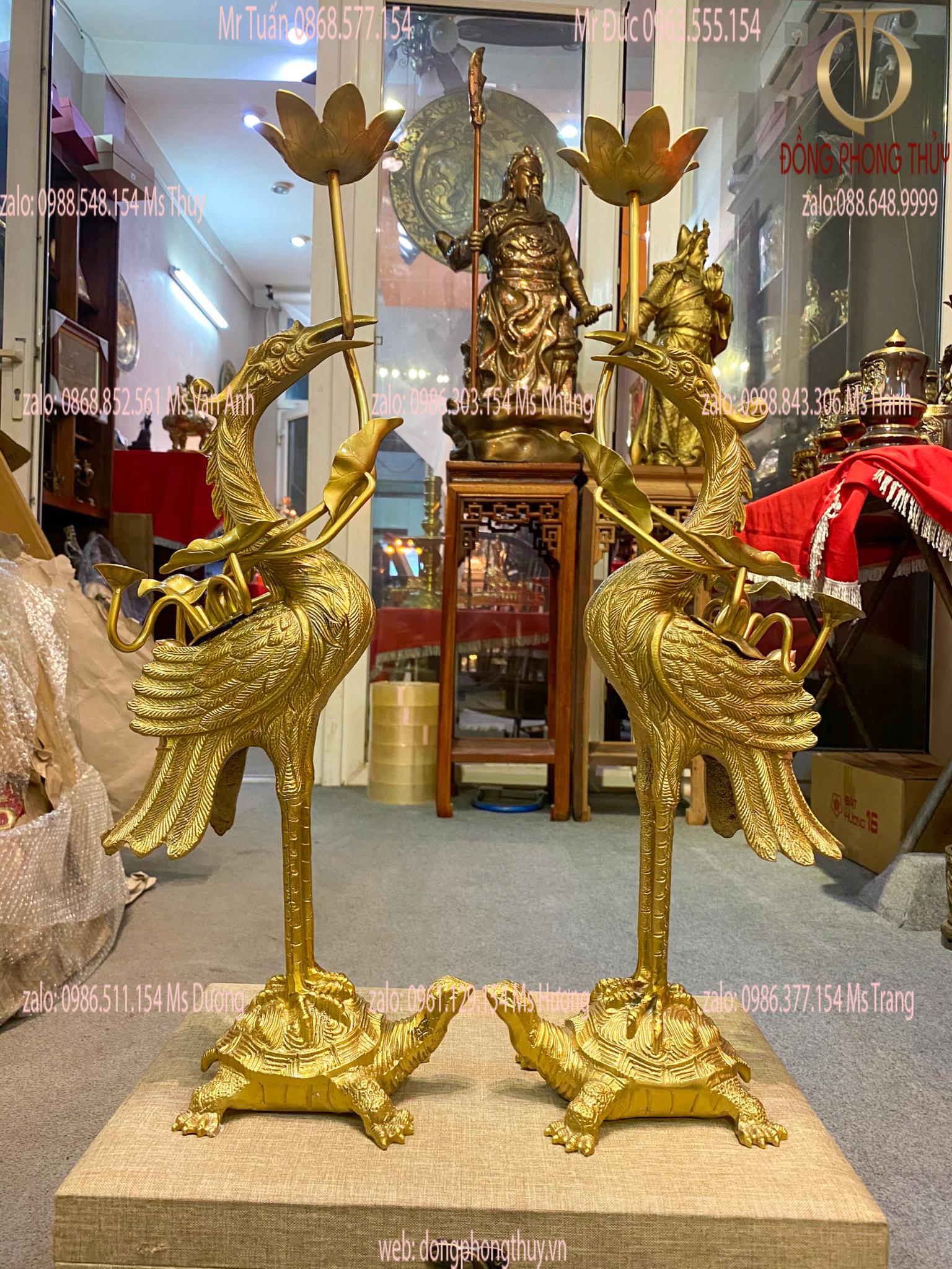 Đoi hạc đồng thờ cúng cao 52cm, nặng 5,5kg vàng đậm