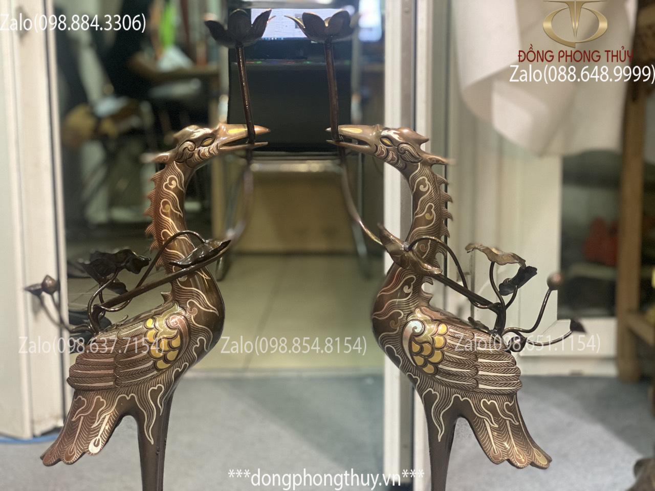 Đôi hạc đồng khảm ngũ sắc cao 65cm nặng 11kg