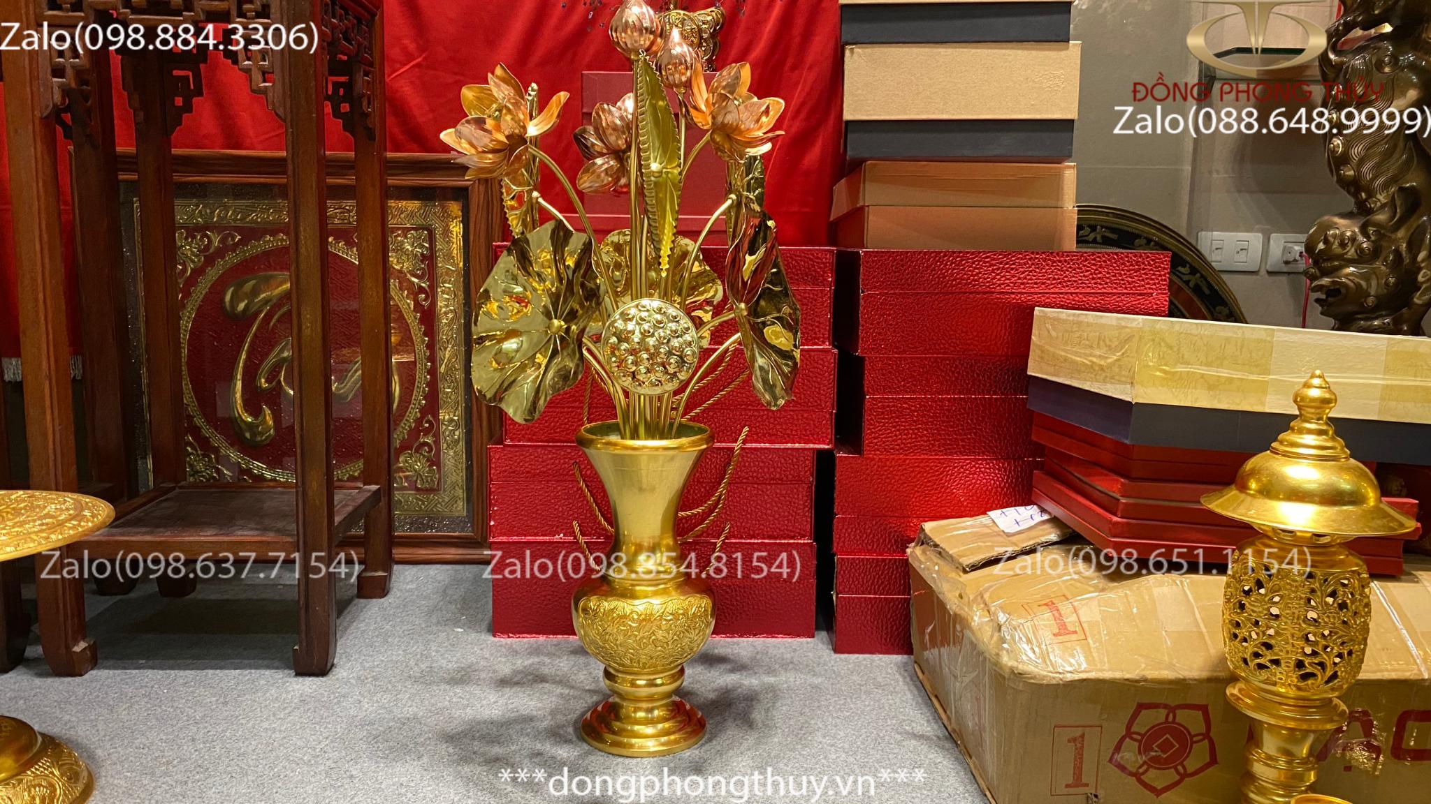 Lọ hoa bằng đồng mạ vàng 24k