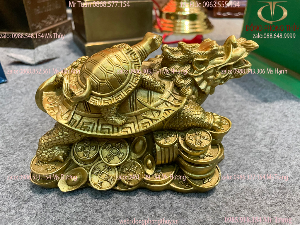 Long Quy rùa đầu rồng bằng đồng