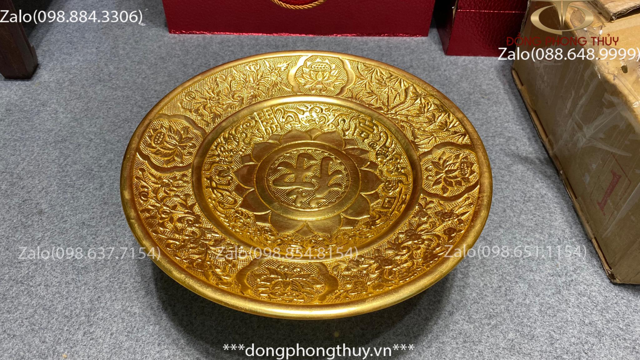 Mâm bồng 35cm bằng đồng thếp vàng 24k