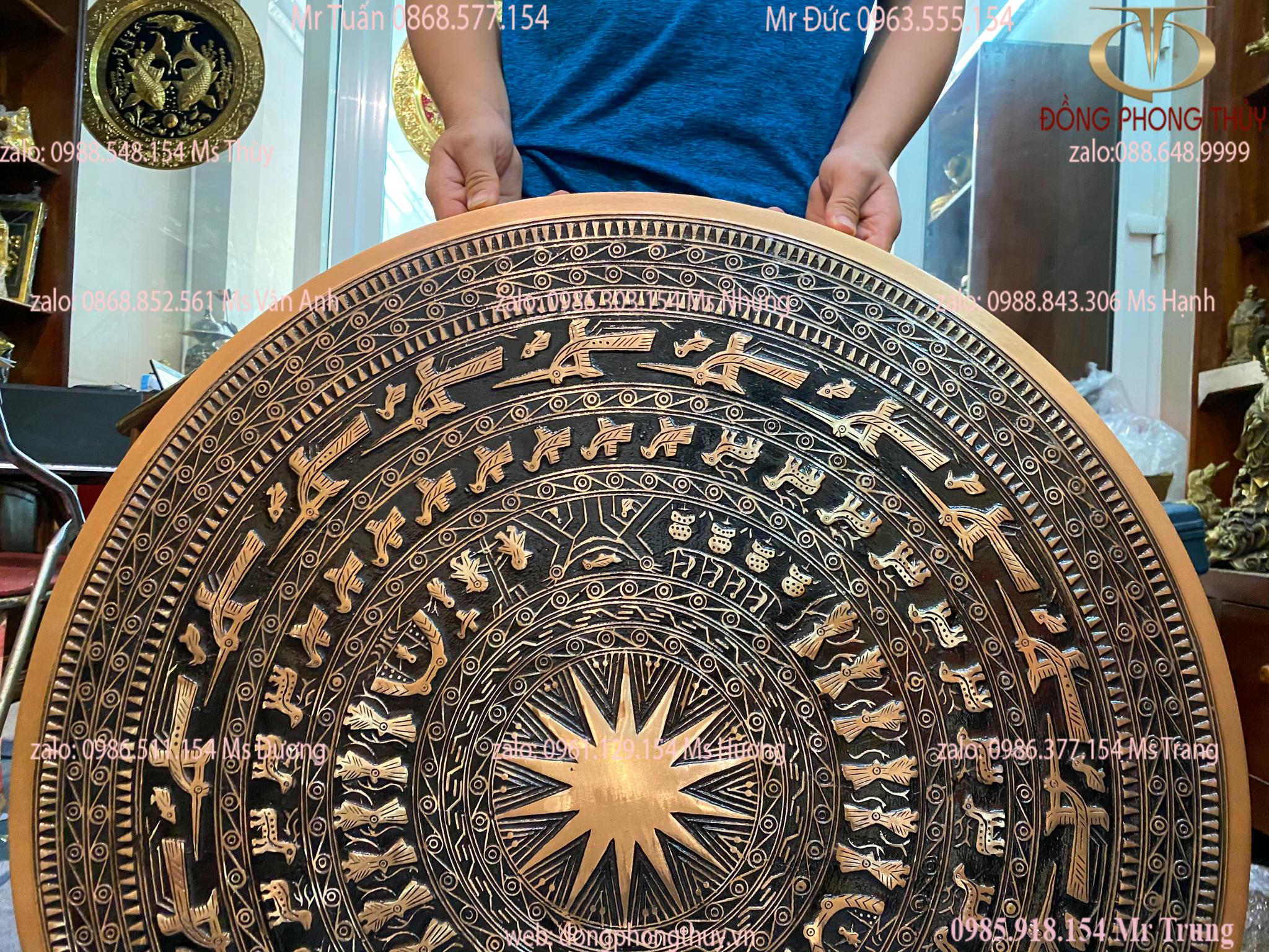 Mặt trống đồng Đông Sơn đồng đỏ đường kính 80cm nặng 28kg