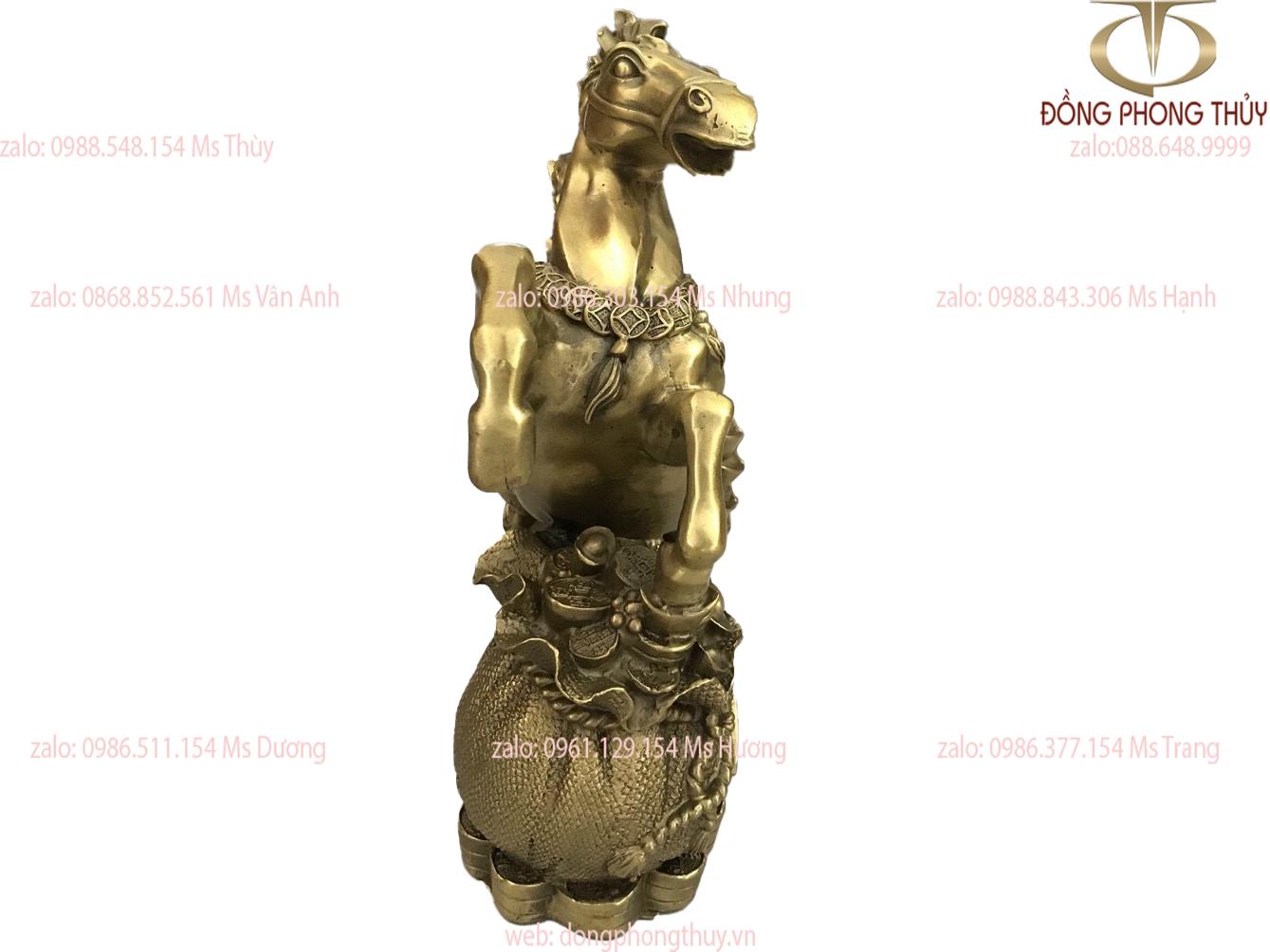 Tượng ngựa hũ vàng bằng đồng cao 31 ngang 25cm nặng 3,2kg