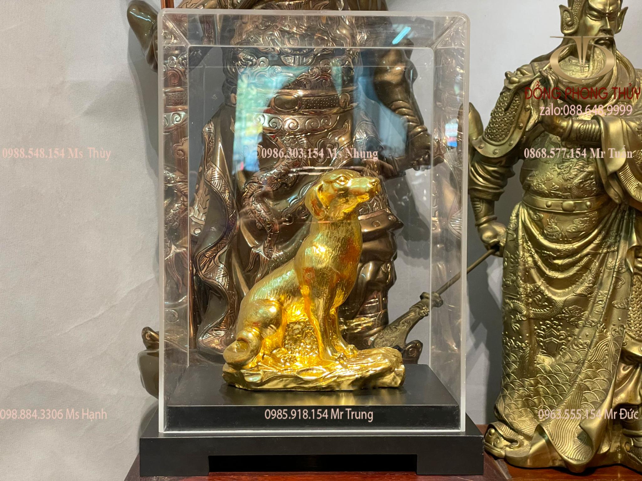 Quà tặng sếp nam nữ: Tượng chó phong thủy mạ vàng 24k