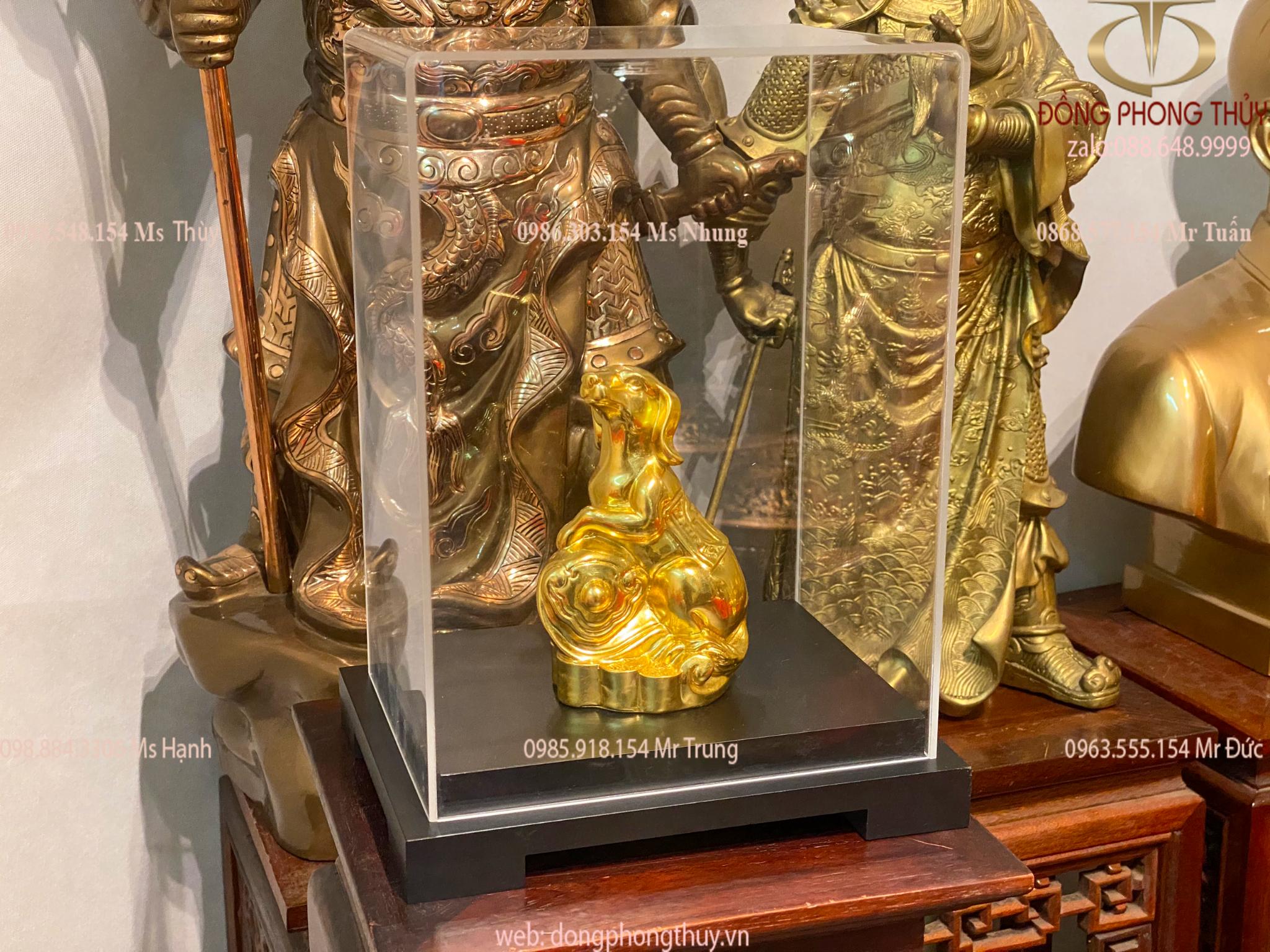 Quà tặng sếp: tượng chó bằng đồng dát vàng 24k
