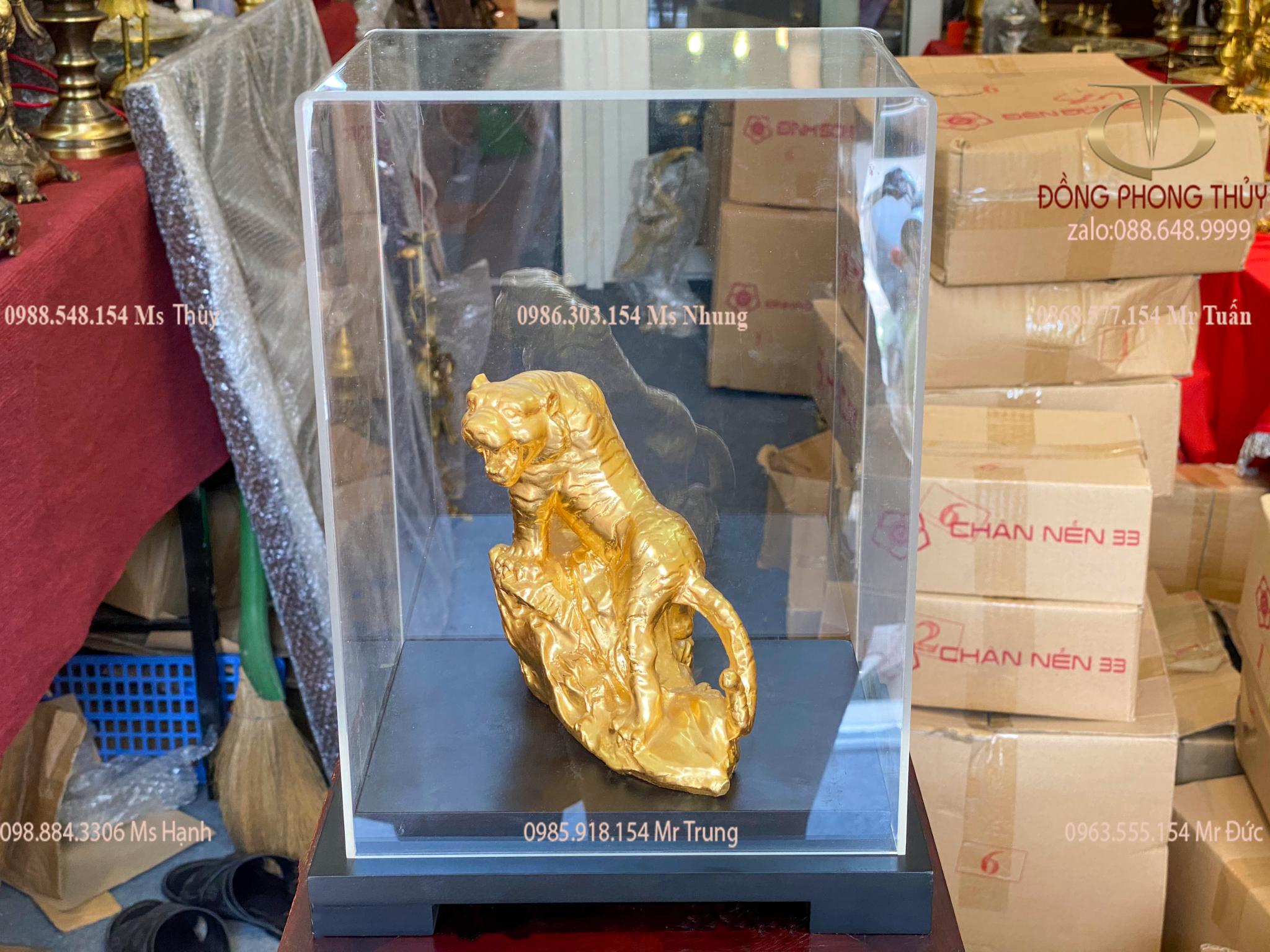 Tượng Hổ Bằng đồng thếp vàng 24k