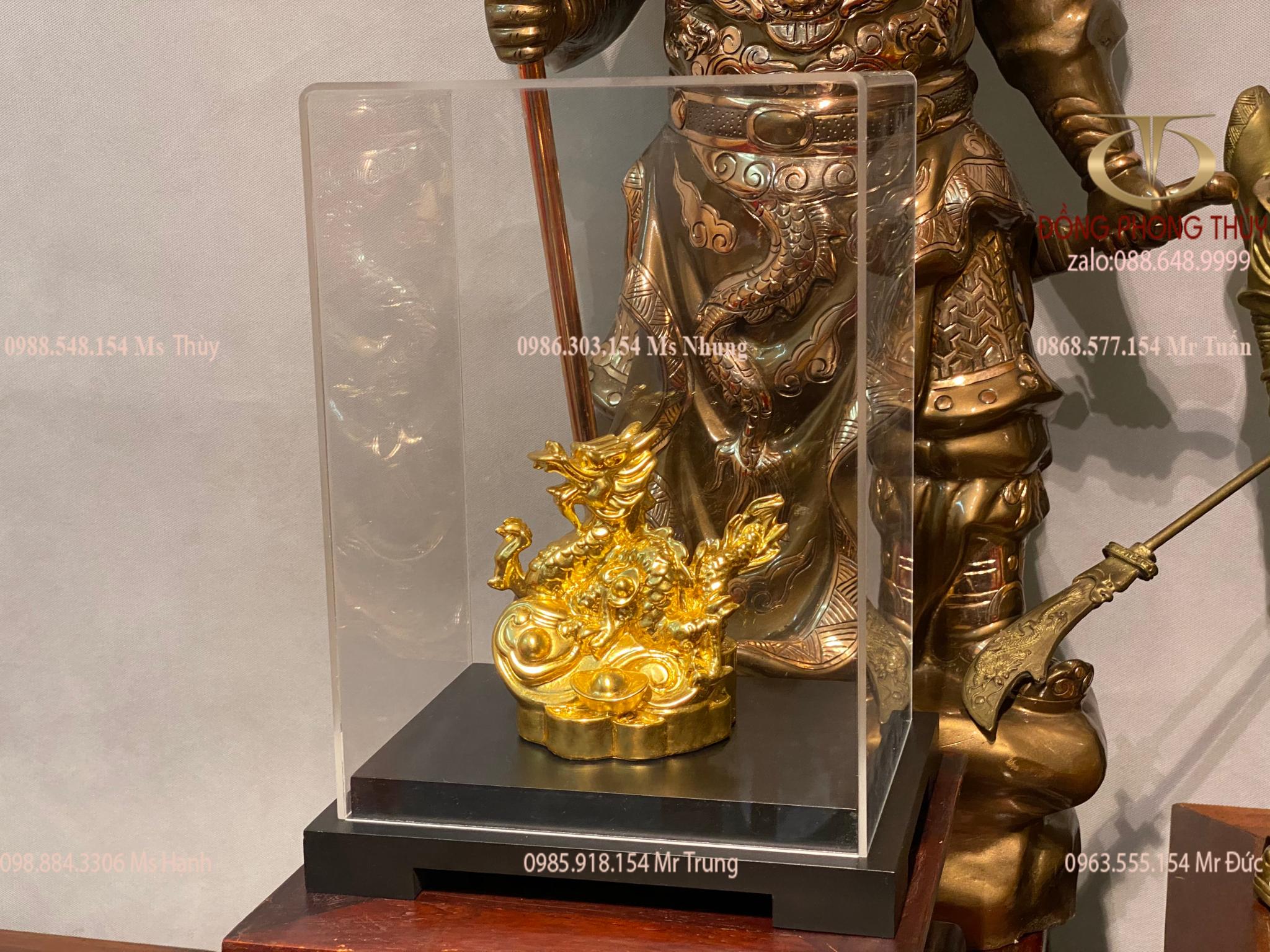 Quà tặng sếp tượng rồng phong thủy bằng đồng mạ vàng 24k
