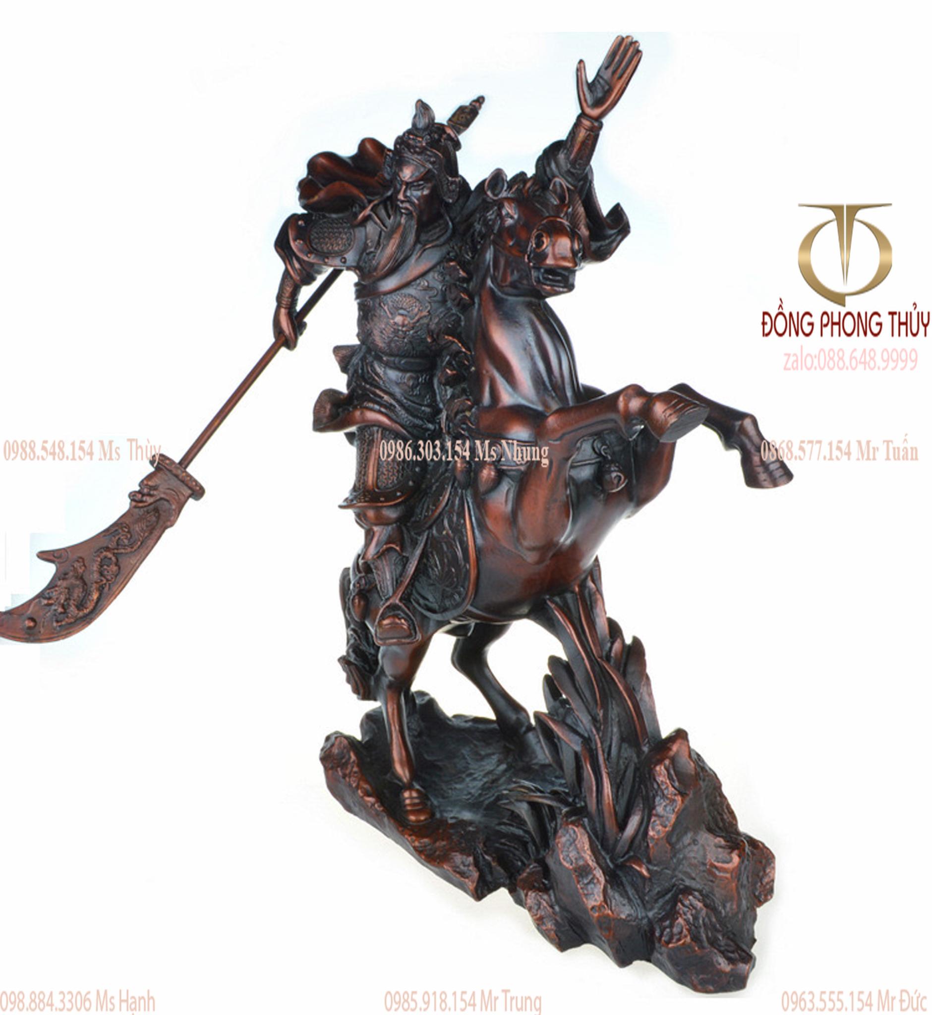 Tượng quan công cưỡi ngựa bằng đồng Cao 35cm