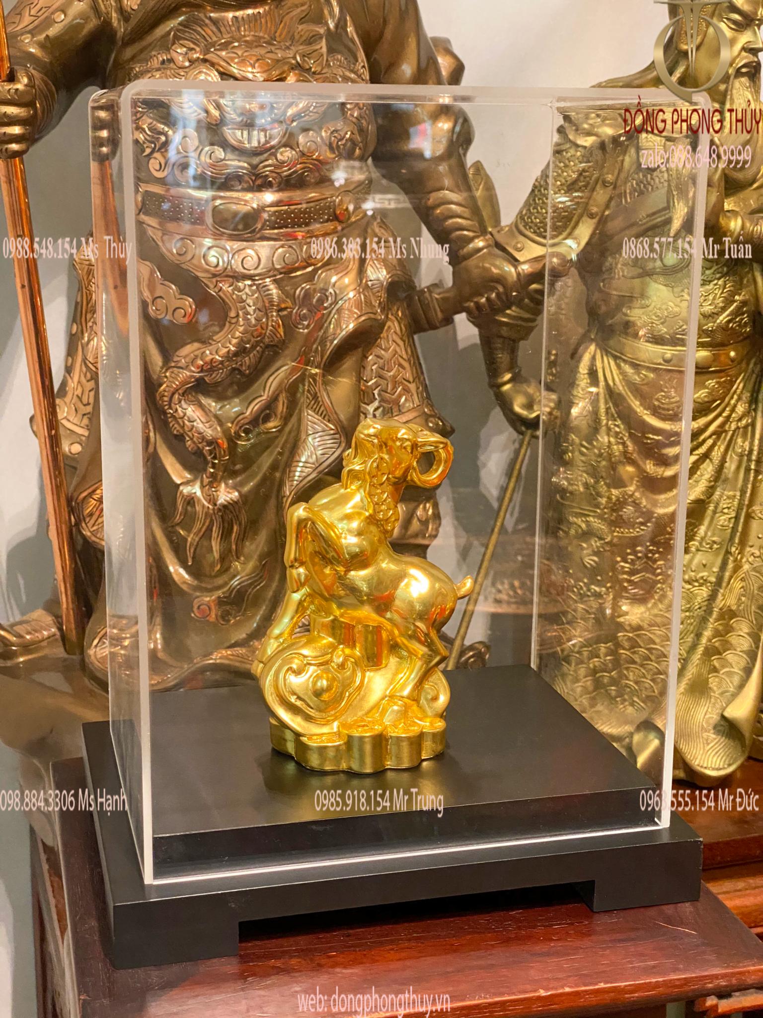 Quà tặng sếp: tượng dê phong thủy như ý dát vàng 24k bằng đồng