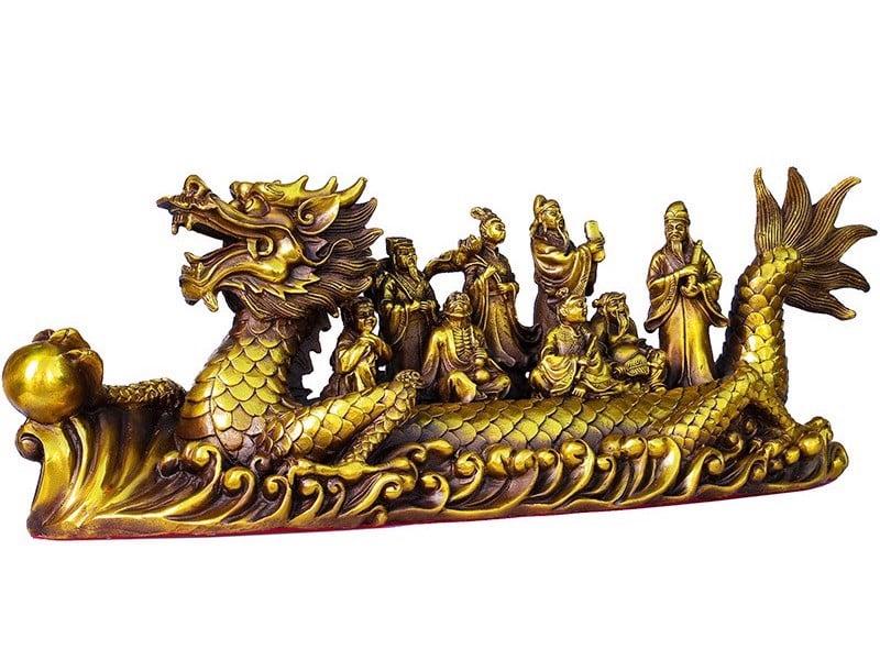 Thuyền rồng bát tiên bằng đồng cao 12 dài 30 nặng 1,3kg