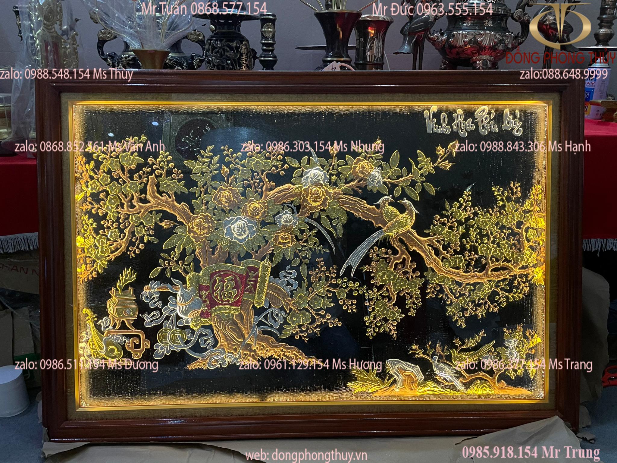 Tranh treo phòng khách: tranh đồng Vinh Hoa Phú quỳ 86*1m27