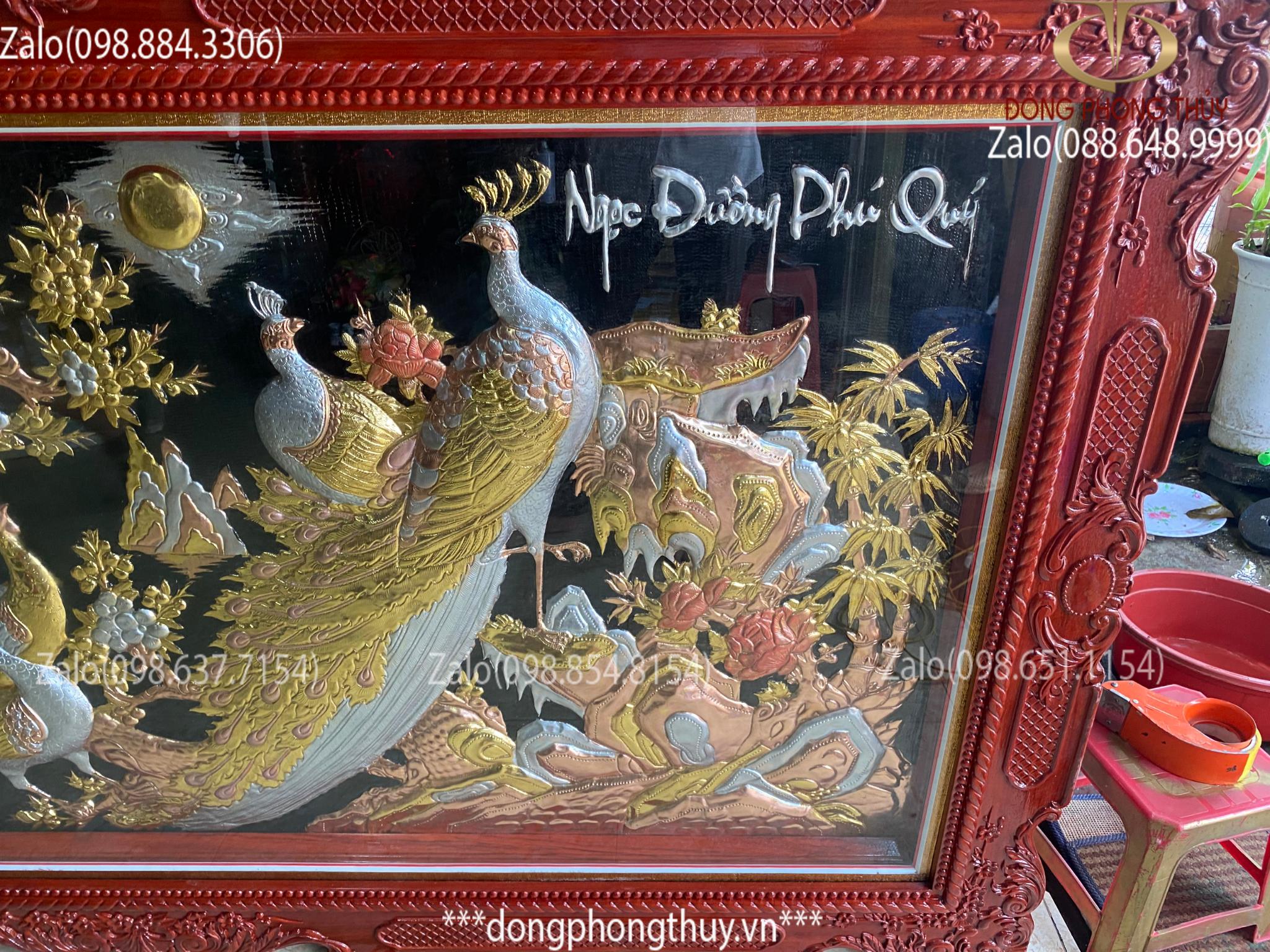 Tranh Ngọc Đường Phú quý bằng đồng khung gỗ Hương Đỏ 1m2*2m3