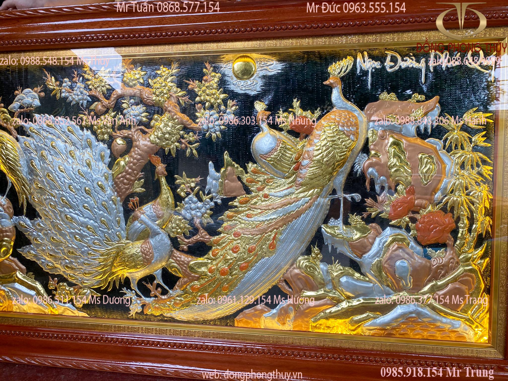 Tranh treo phòng khách: tranh đồng Ngọc Đường Phú Quý 90*1m7