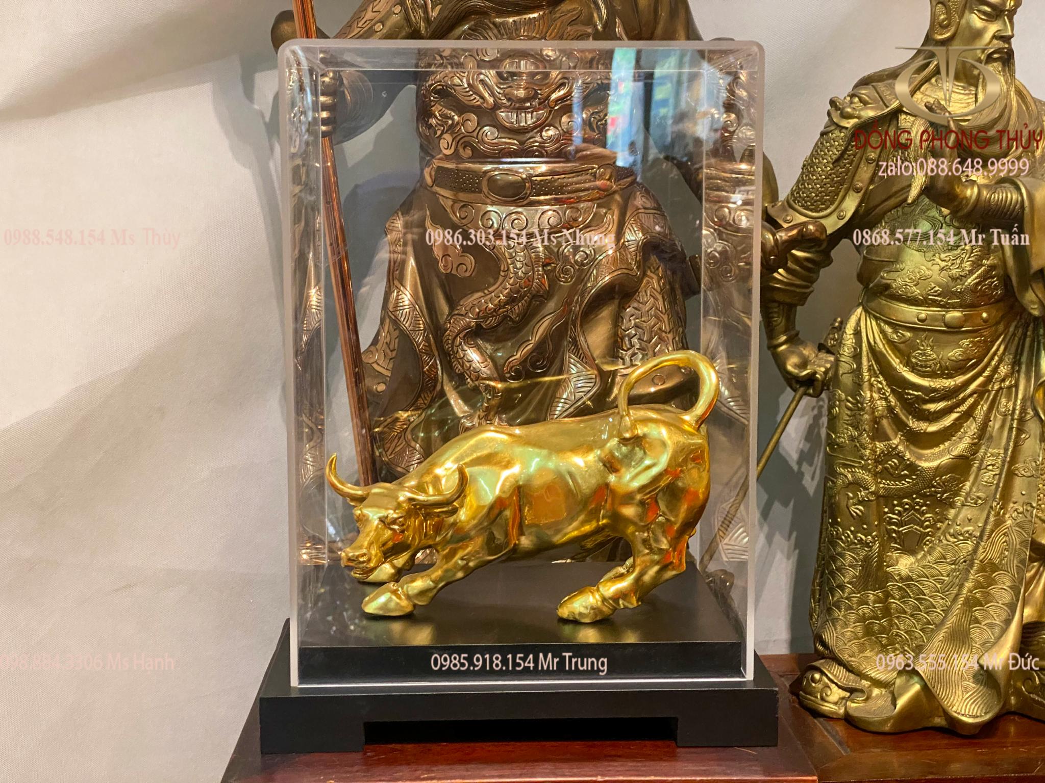 Tượng trâu bằng đồng thếp vàng 24k 11cm