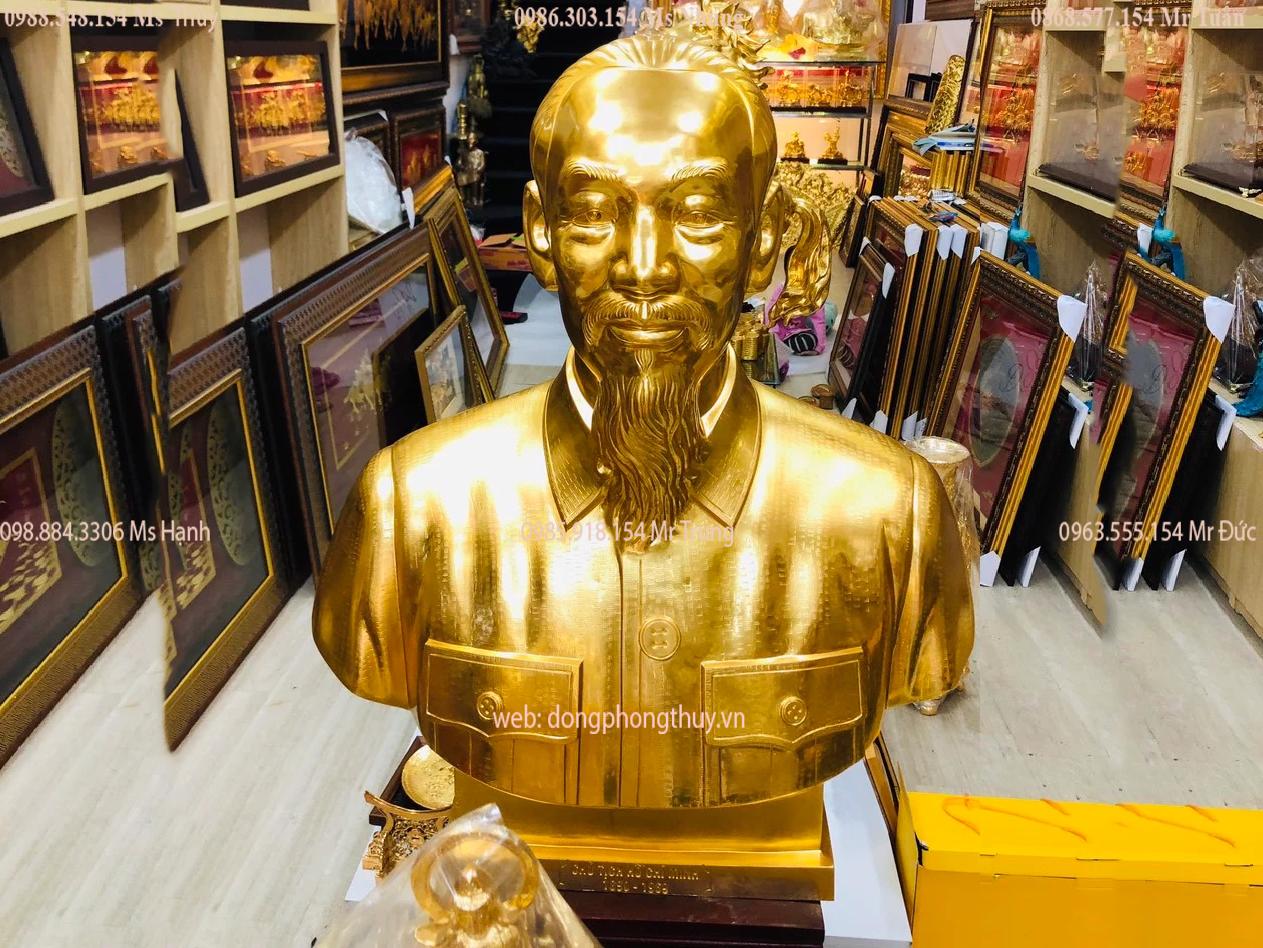 Tượng bác hồ bằng đồng đỏ dát vàng 24k cao 90cm