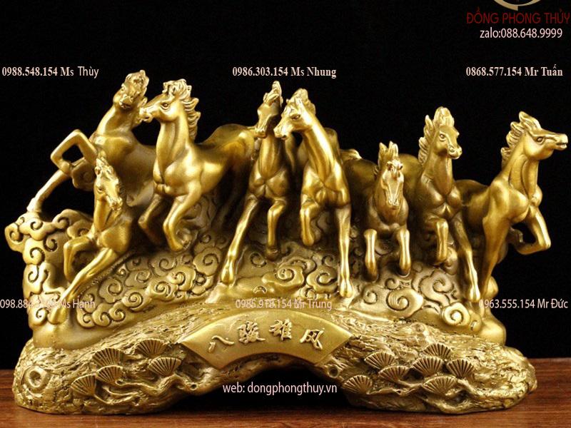 Tượng bát mã truy phong bằng đồng - tượng ngựa phong thủy